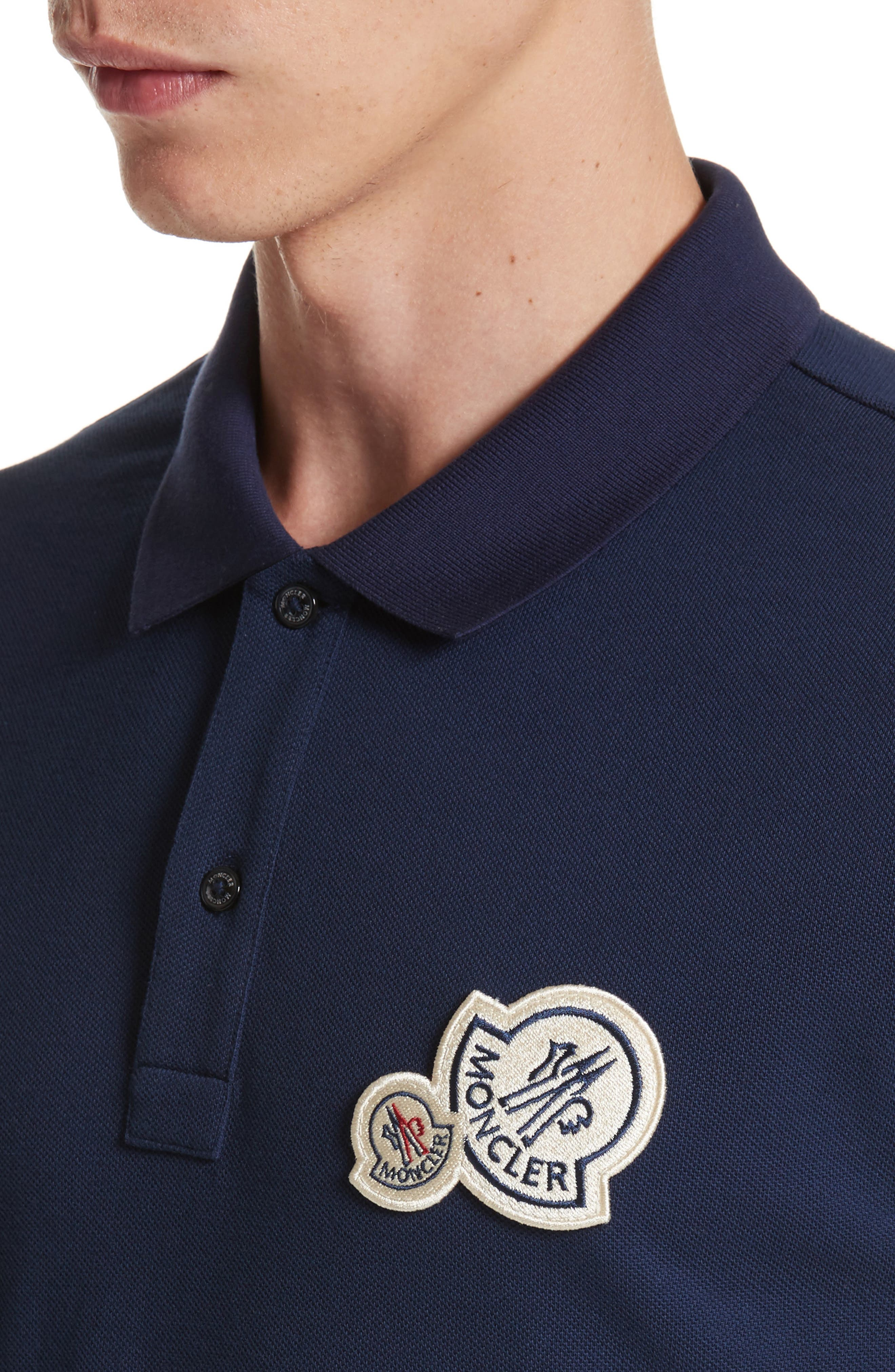 Dual Logo Polo Shirt,                             Alternate thumbnail 4, color,                             NAVY