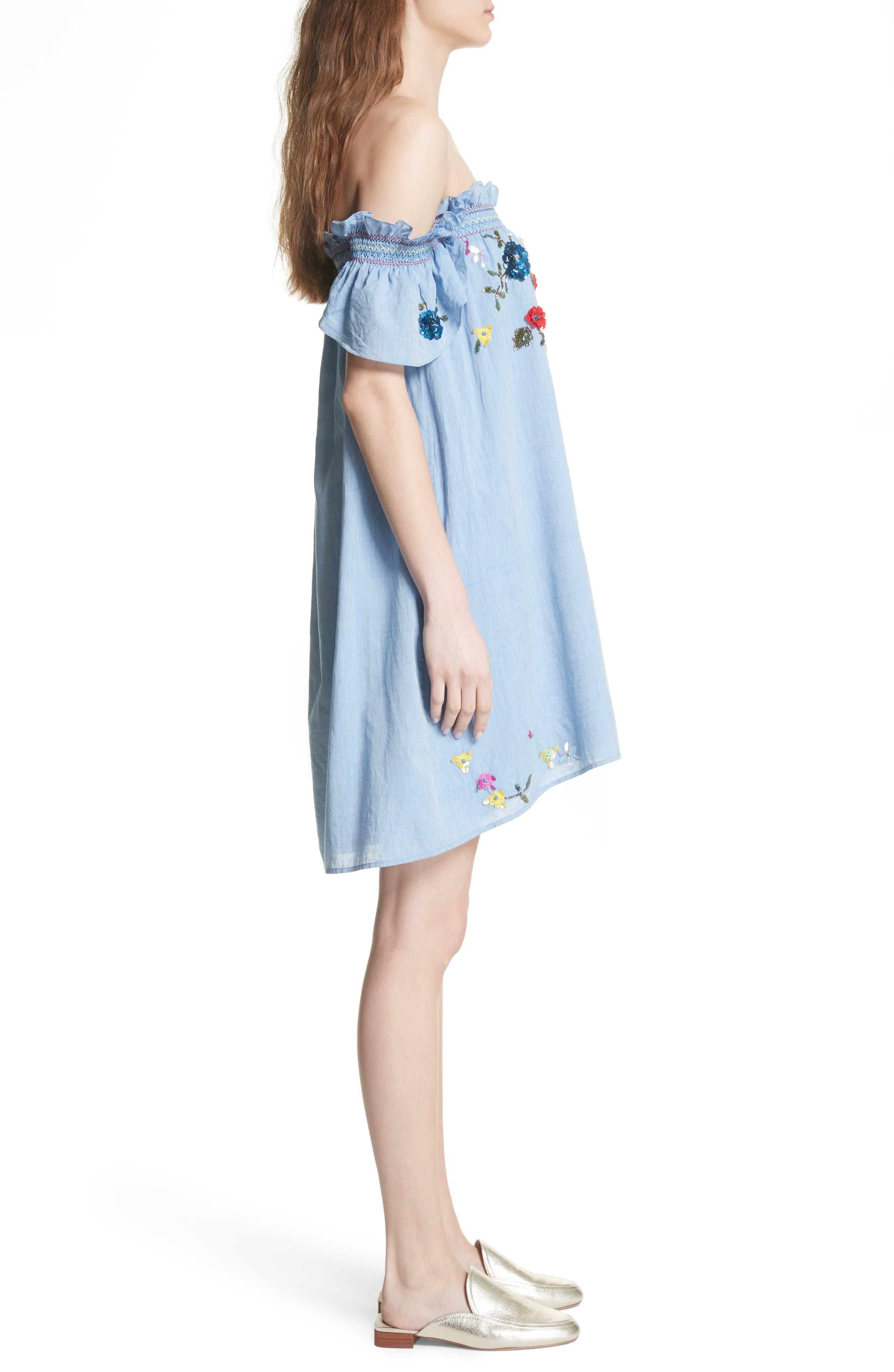 Clarimonde Embroidered Off the Shoulder Cotton Dress,                             Alternate thumbnail 3, color,                             400