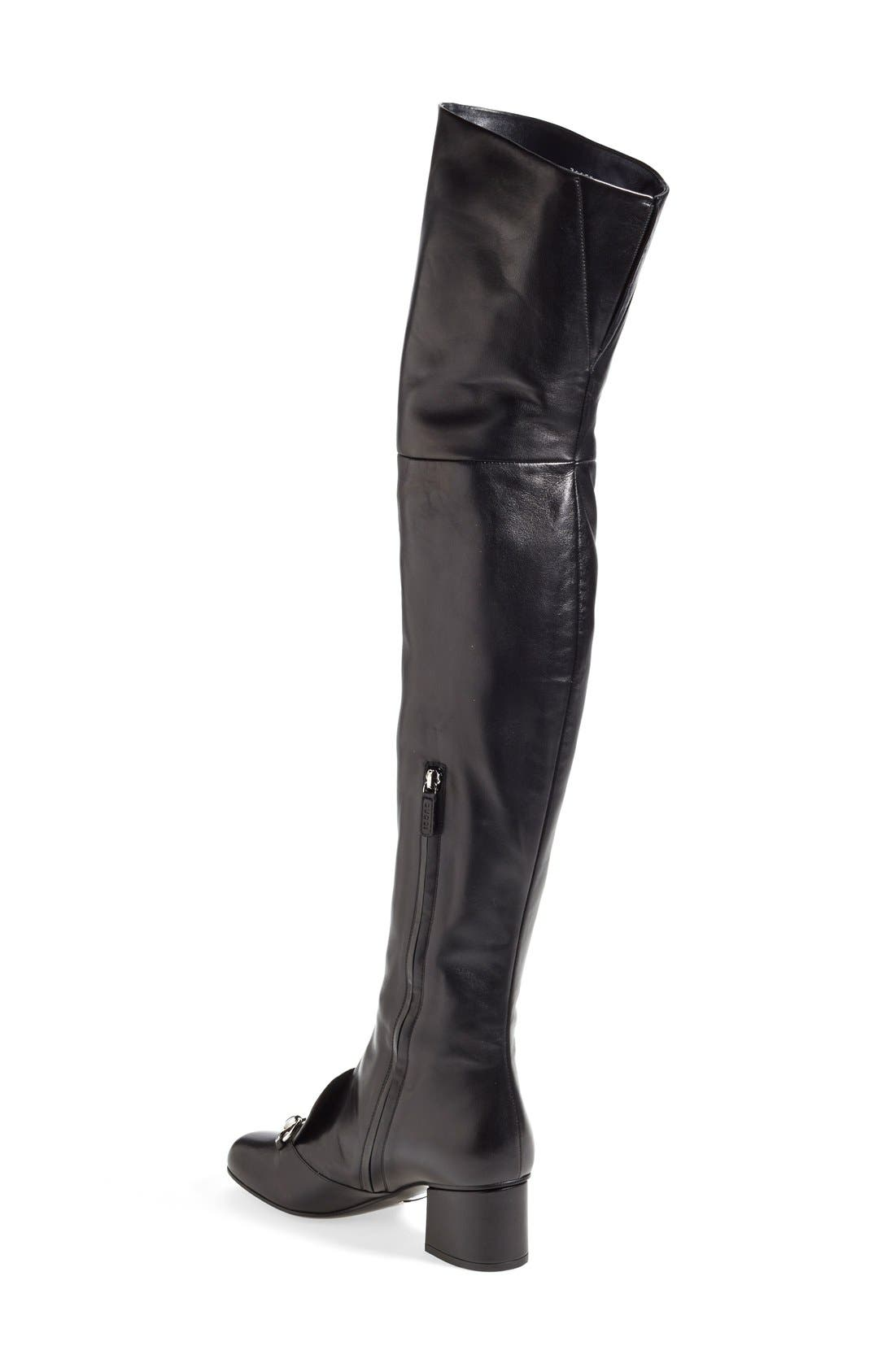 GUCCI,                             'Lillian' Over the Knee Boot,                             Alternate thumbnail 4, color,                             001