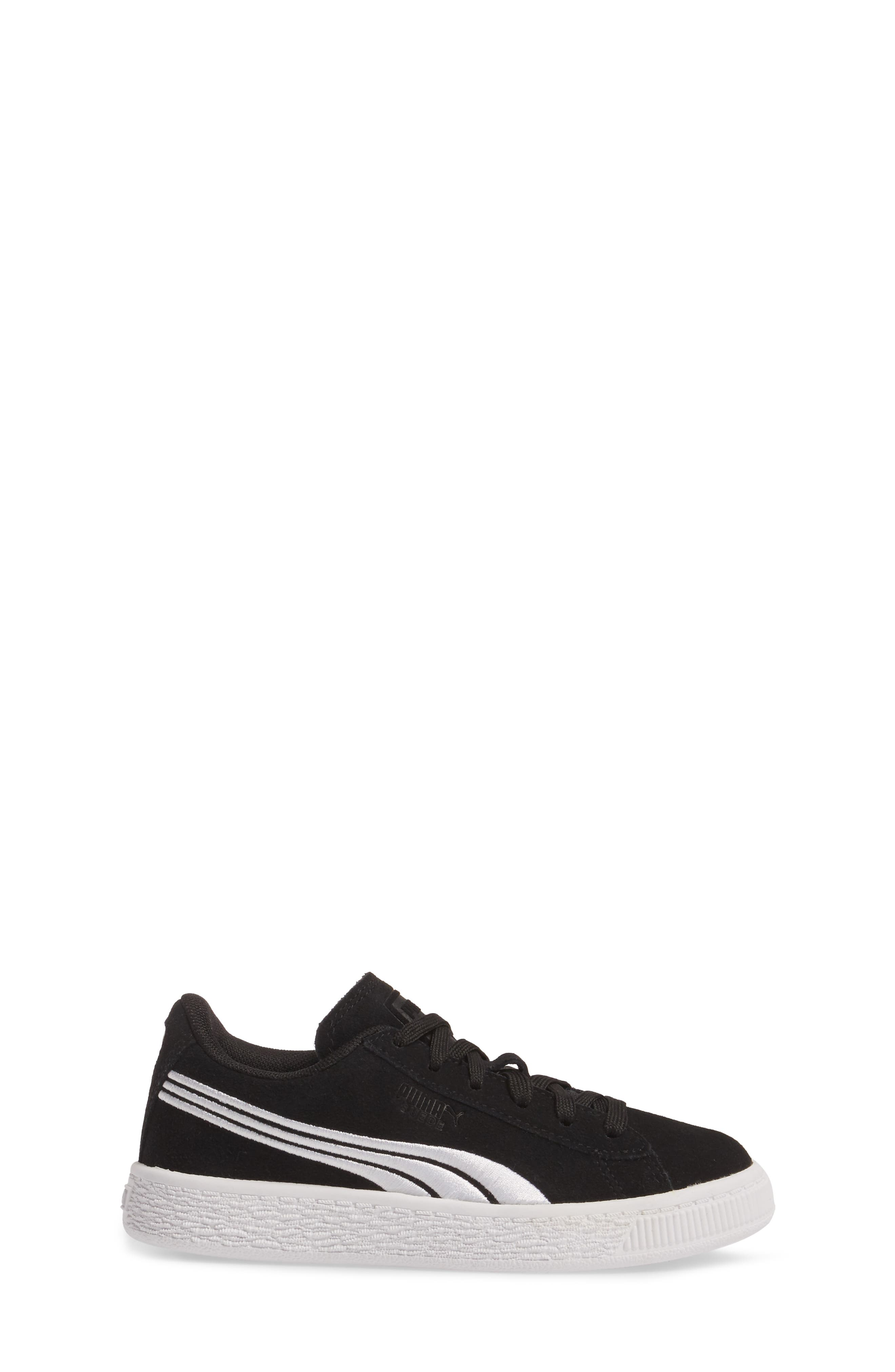 Suede Classic Badge Sneaker,                             Alternate thumbnail 3, color,                             001