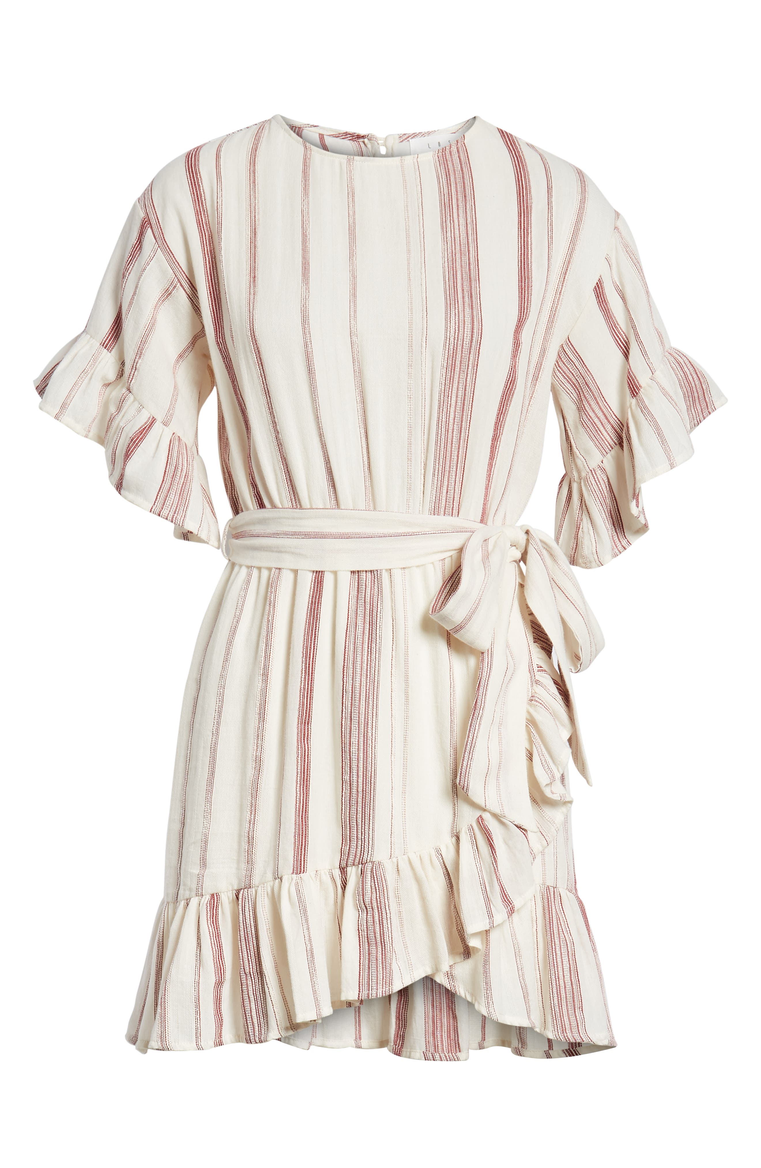 Marian Stripe Ruffle Minidress,                             Alternate thumbnail 7, color,                             600