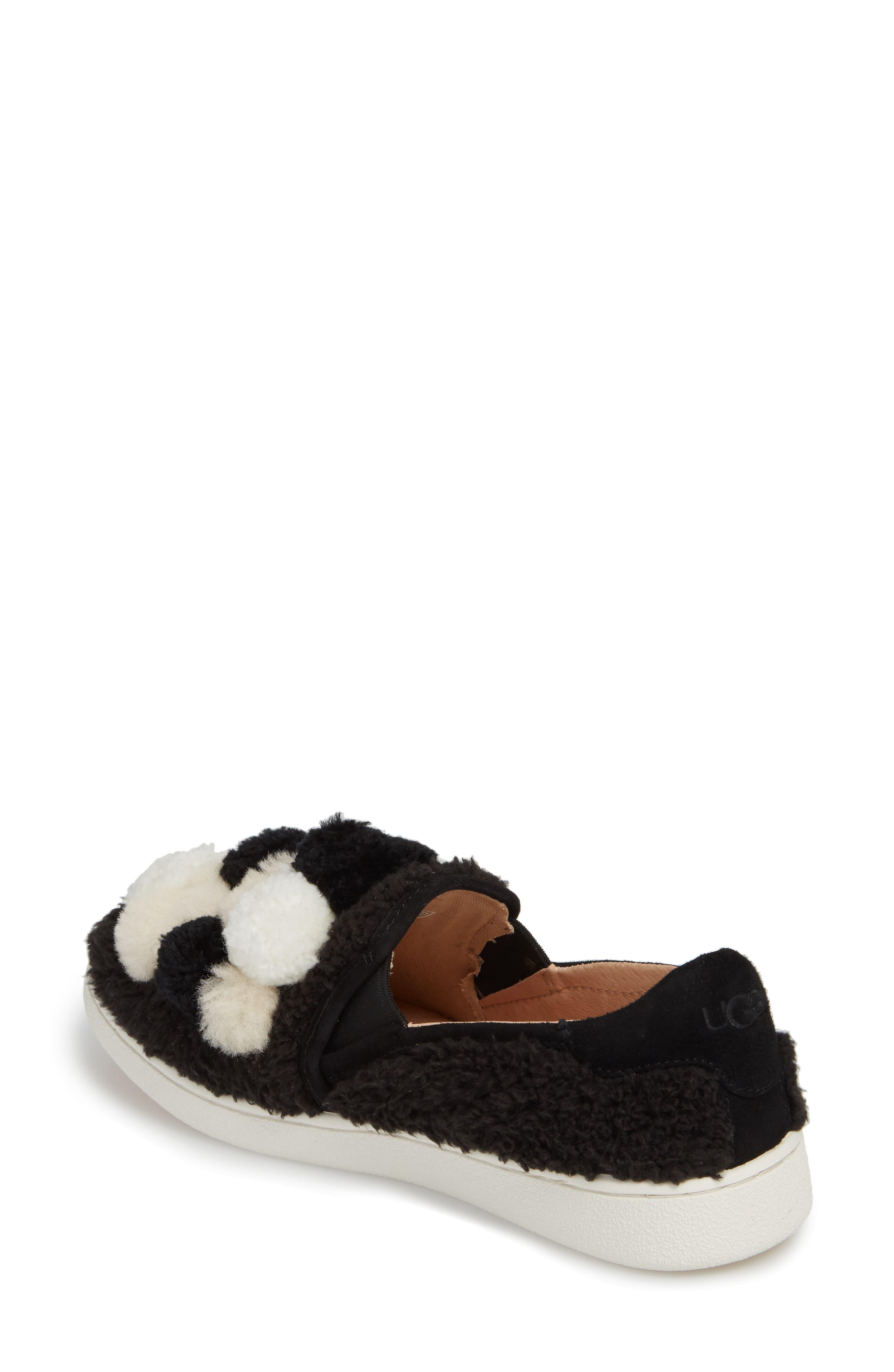Ricci Plush Genuine Shearling Pompom Slip-On Sneaker,                             Alternate thumbnail 2, color,                             001