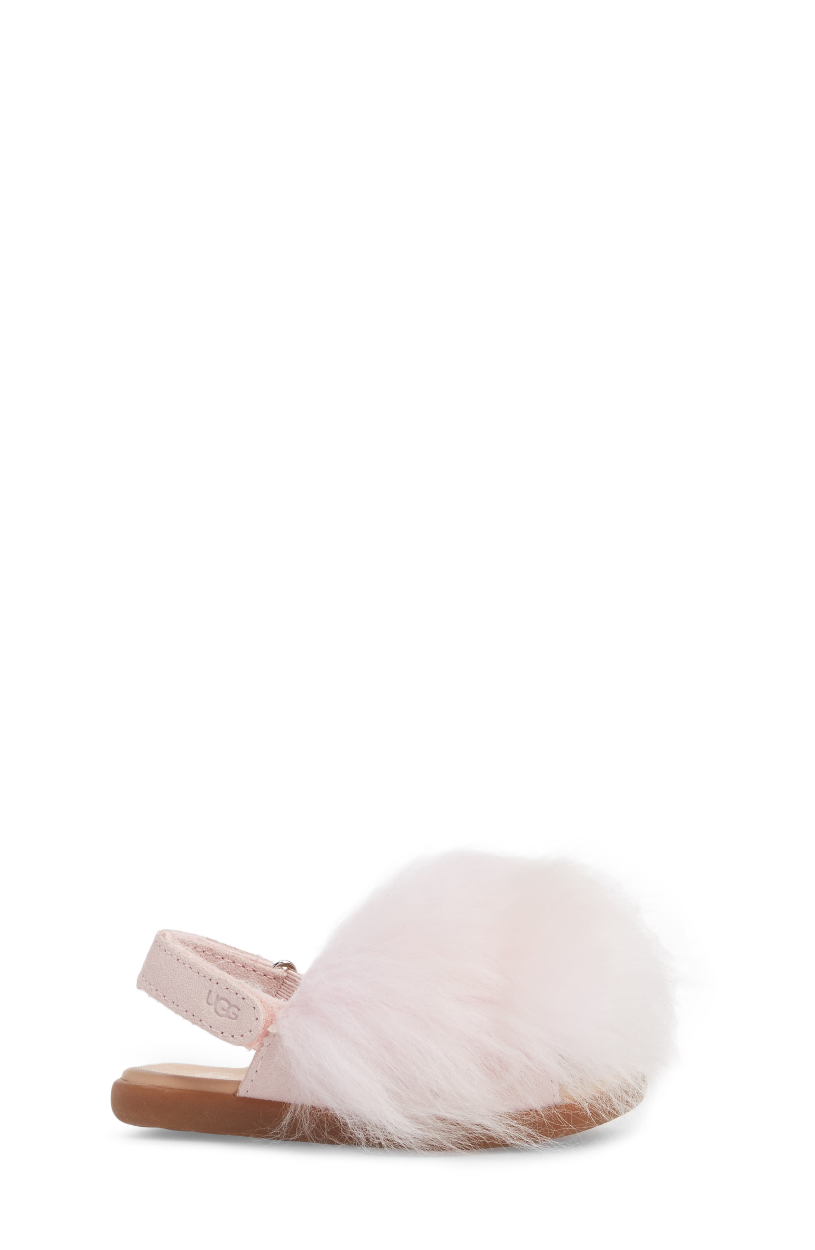 Holly Genuine Shearling Sandal,                             Alternate thumbnail 3, color,                             SEASHELL PINK