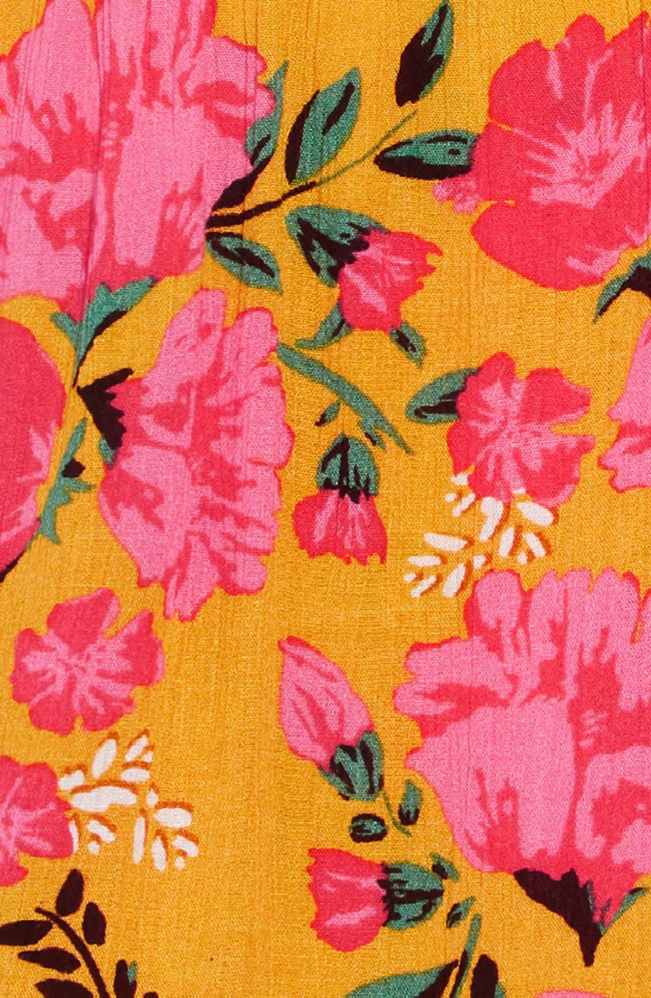BILLABONG,                             Sing It Print Dress,                             Alternate thumbnail 3, color,                             GOLDEN GLOW