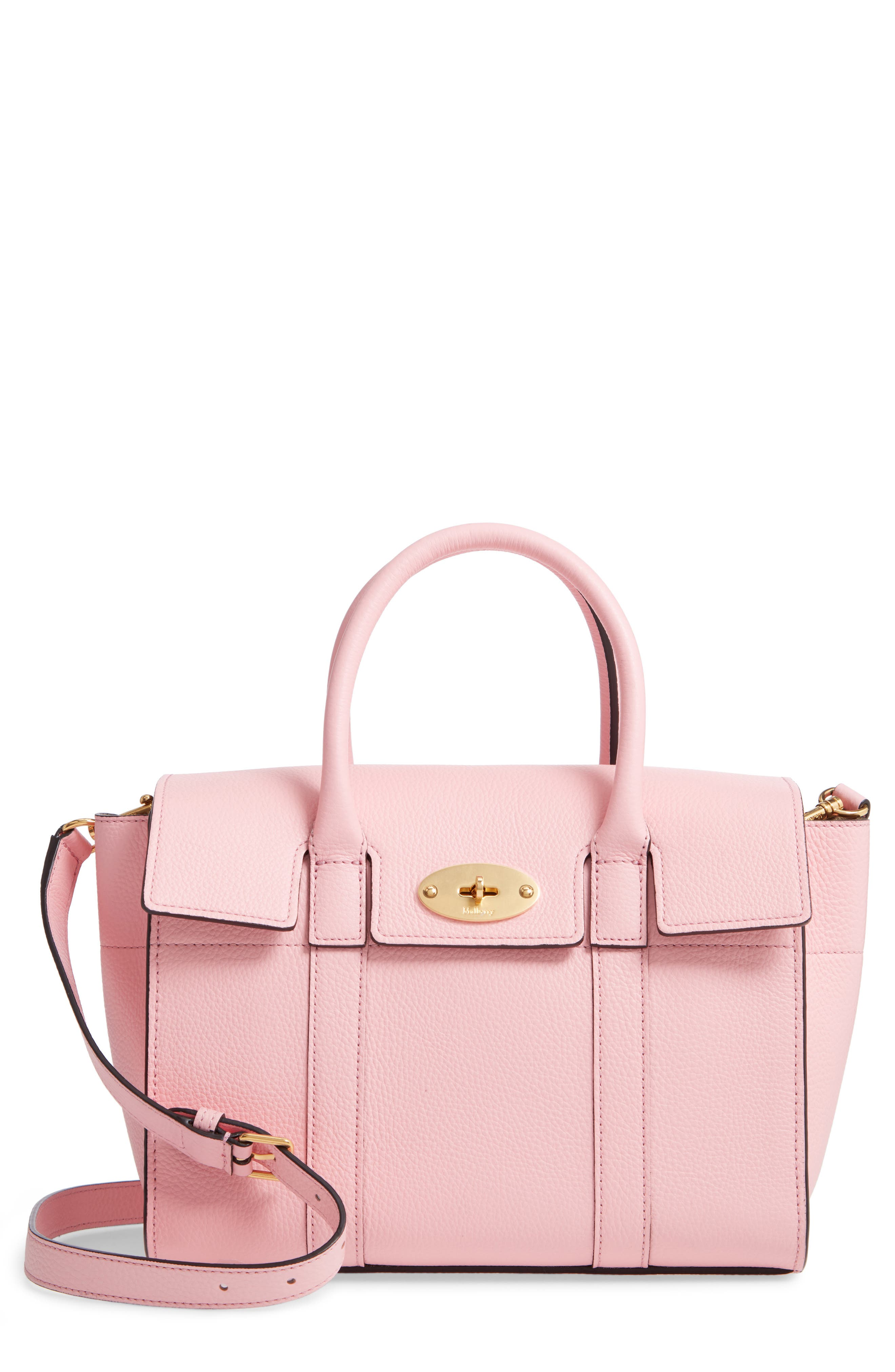 Small Bayswater Leather Satchel, Main, color, SORBET PINK