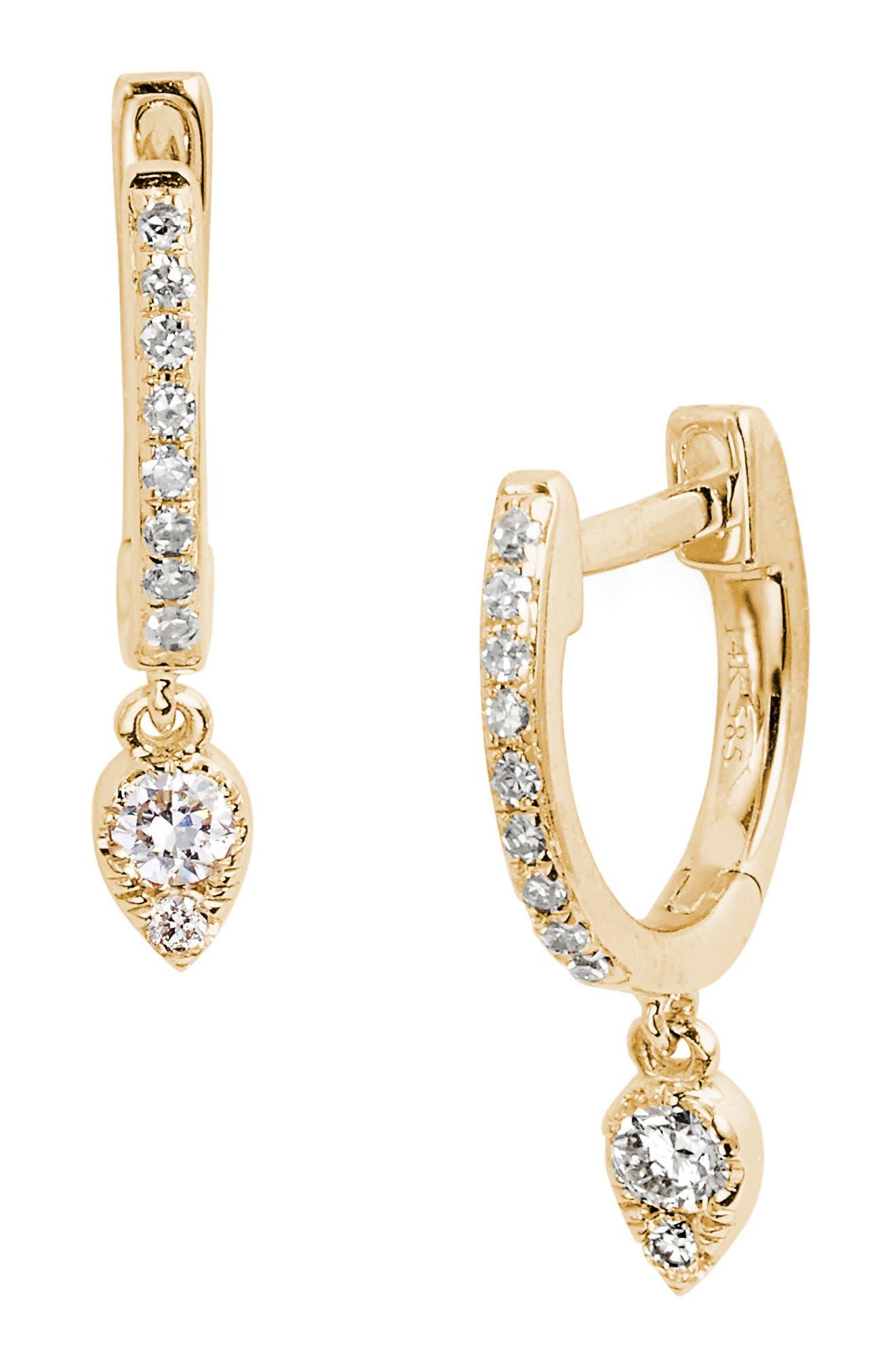 Diamond Teardrop Huggies,                         Main,                         color, YELLOW GOLD
