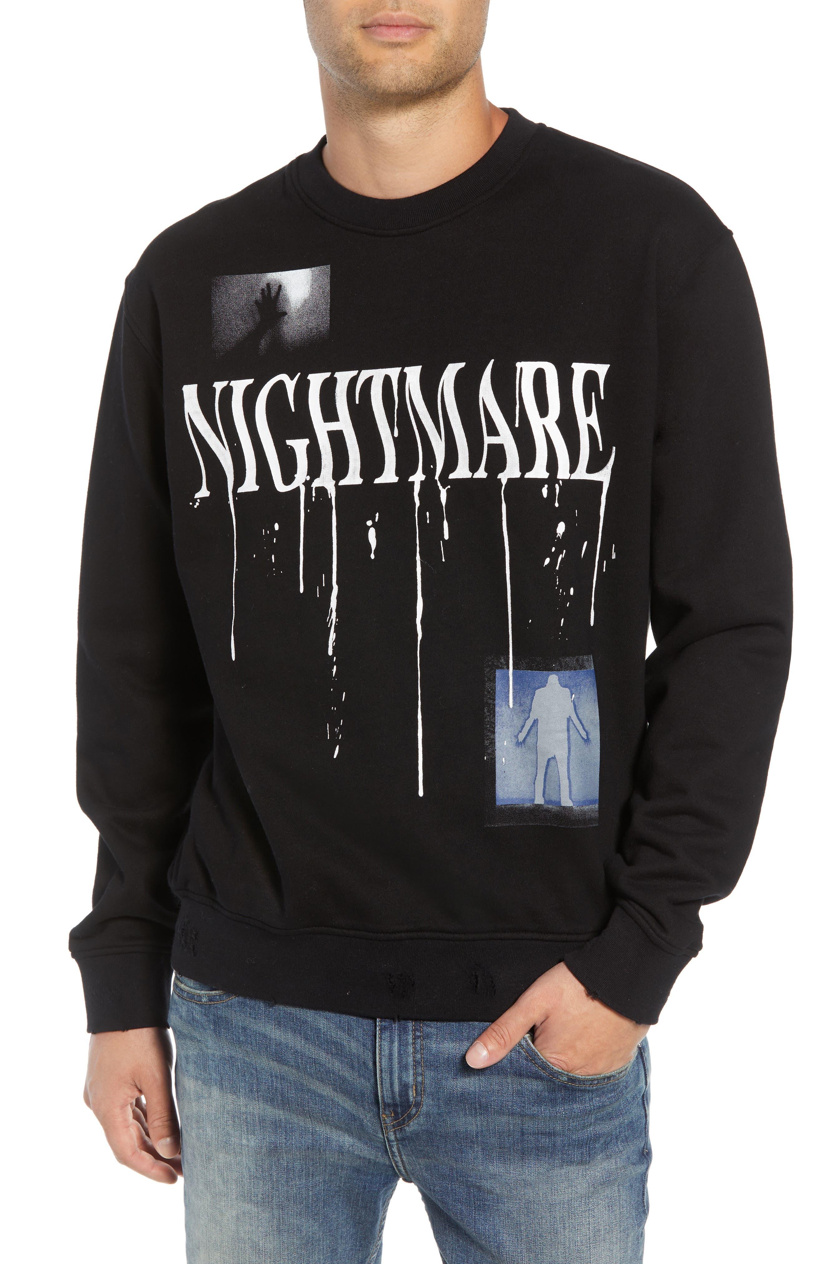 Nightmare Graphic Distressed Sweatshirt,                             Main thumbnail 1, color,                             BLACK