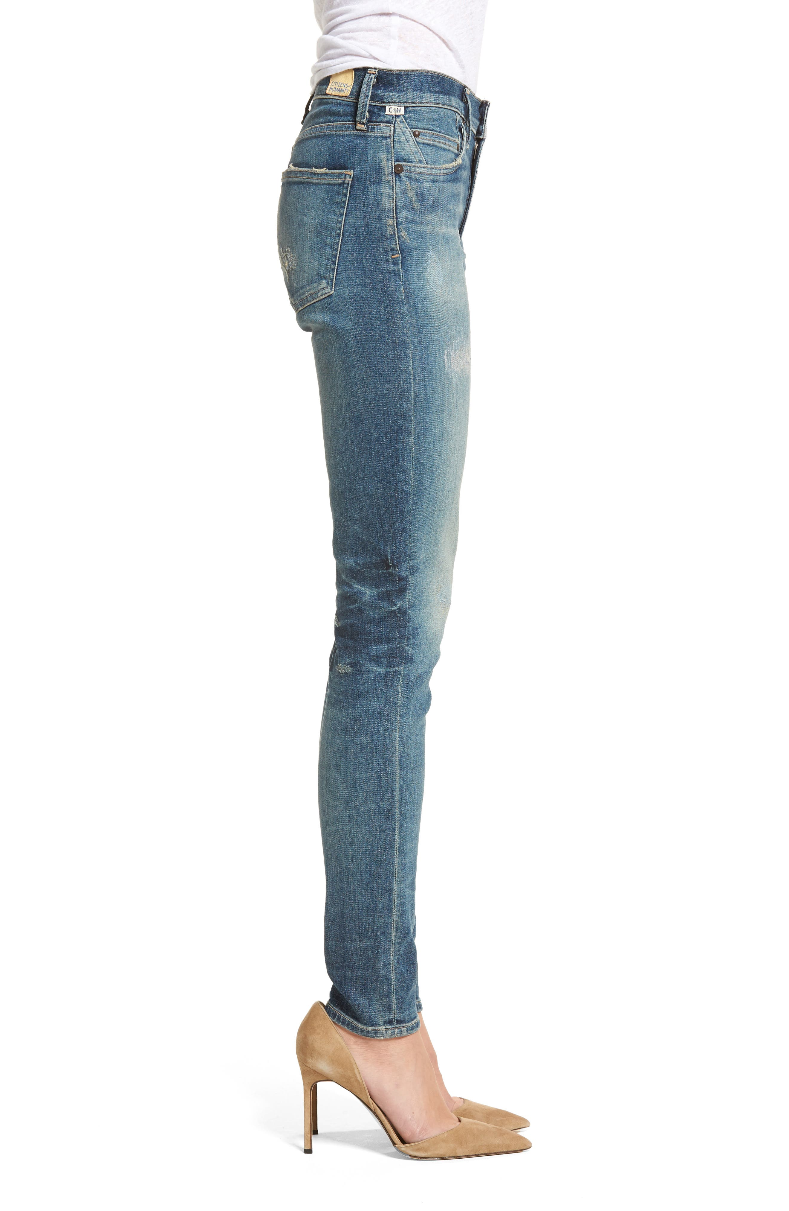 Rocket High Waist Skinny Jeans,                             Alternate thumbnail 3, color,                             465