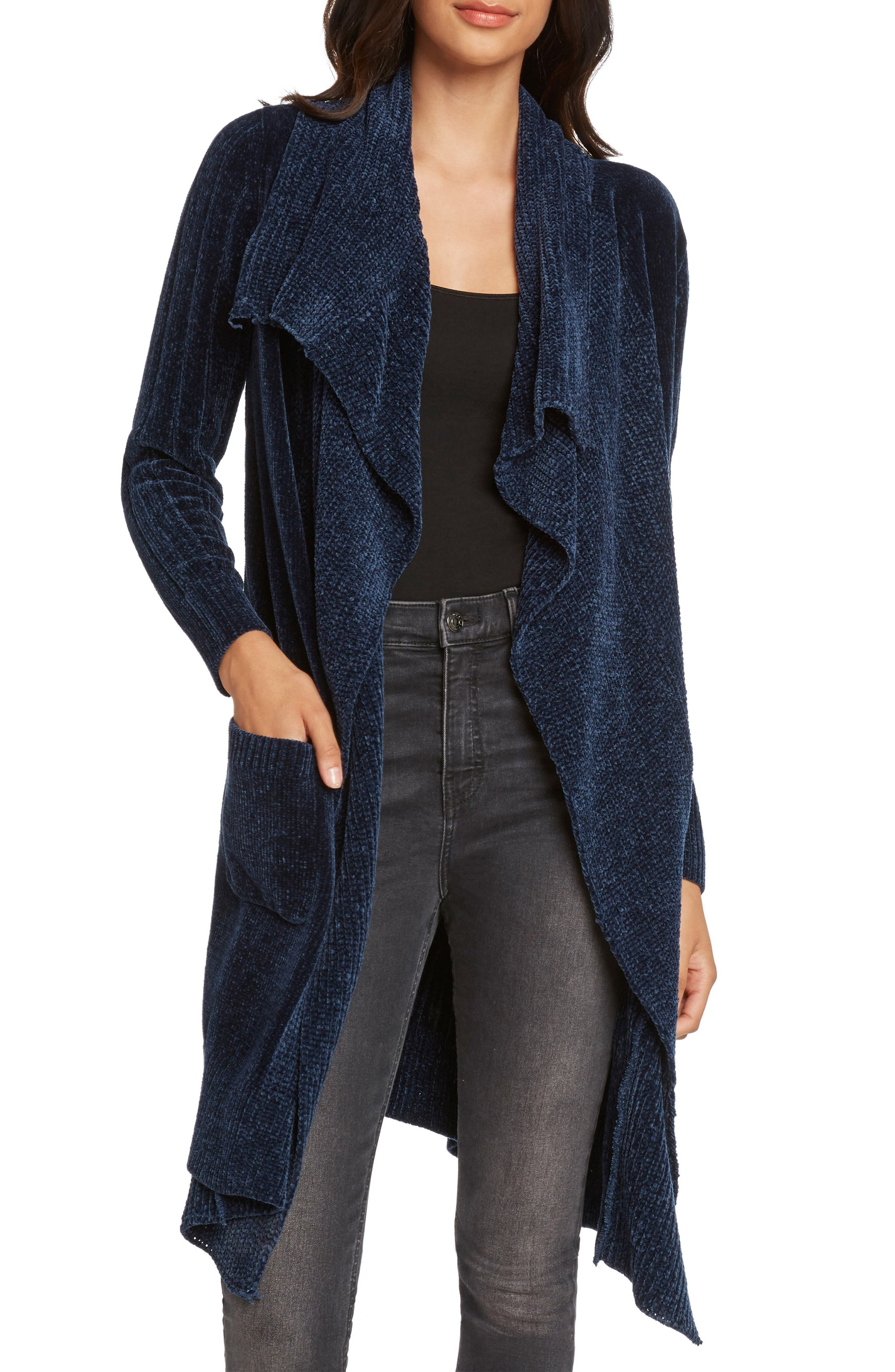WILLOW & CLAY Chenille Shawl Collar Cardigan in Ink