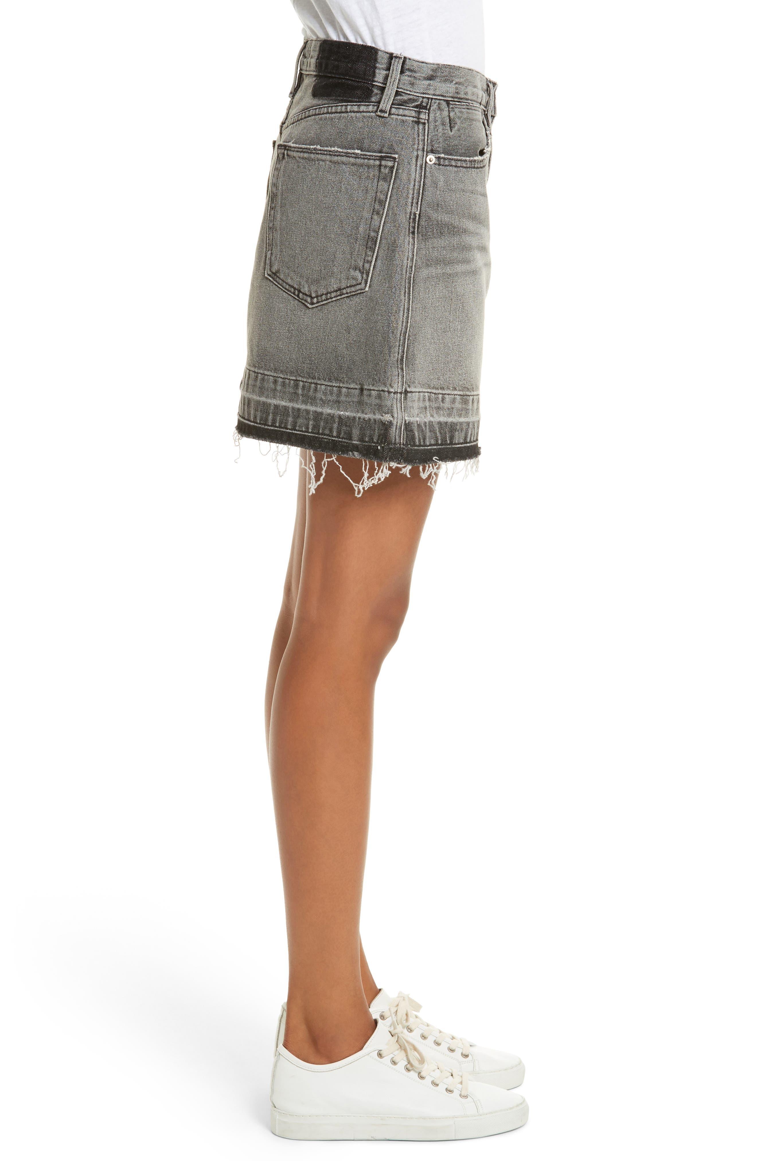 Frayed Hem Denim Skirt,                             Alternate thumbnail 3, color,                             030