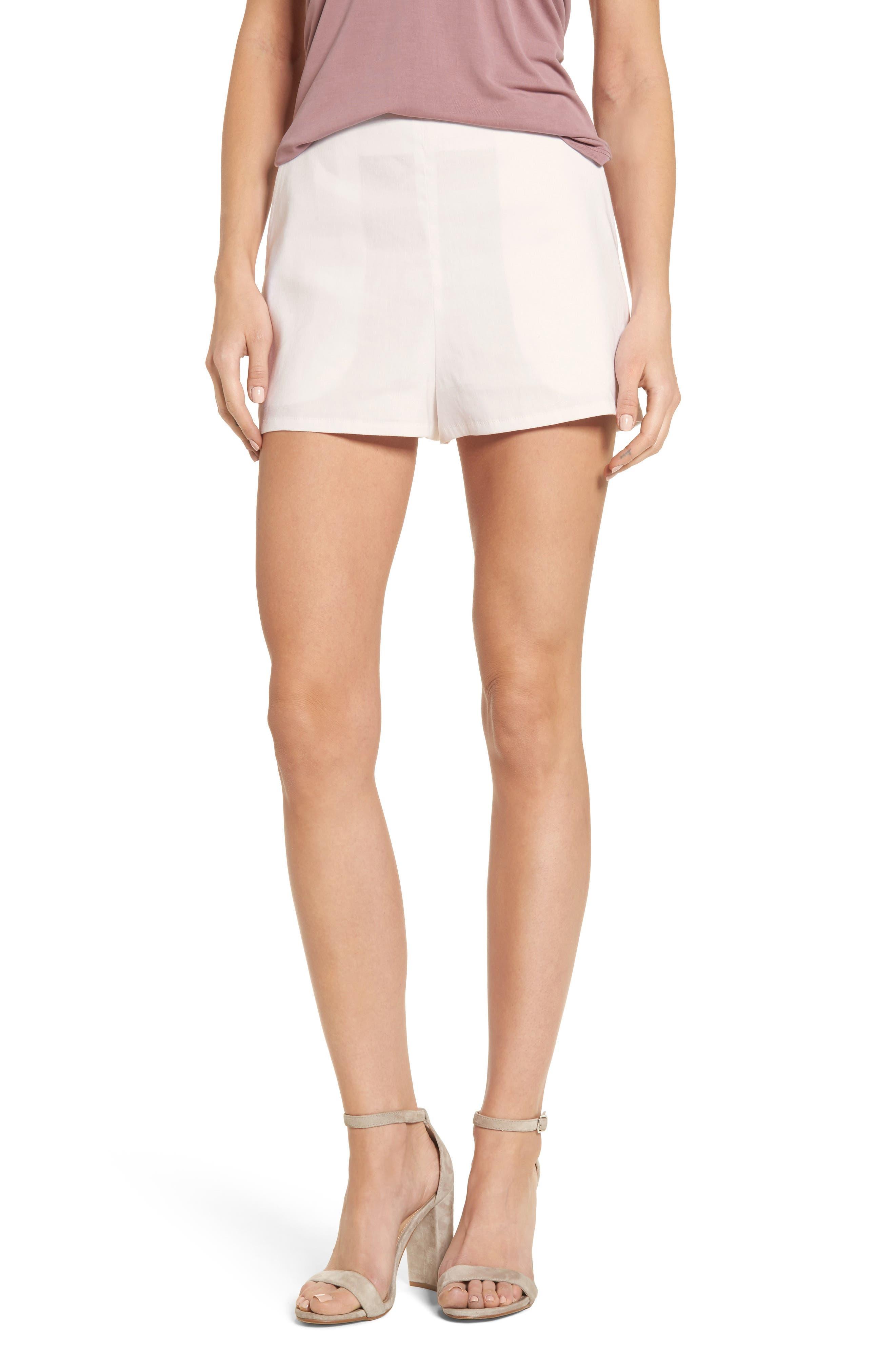 High Waist Linen Blend Shorts,                             Main thumbnail 5, color,