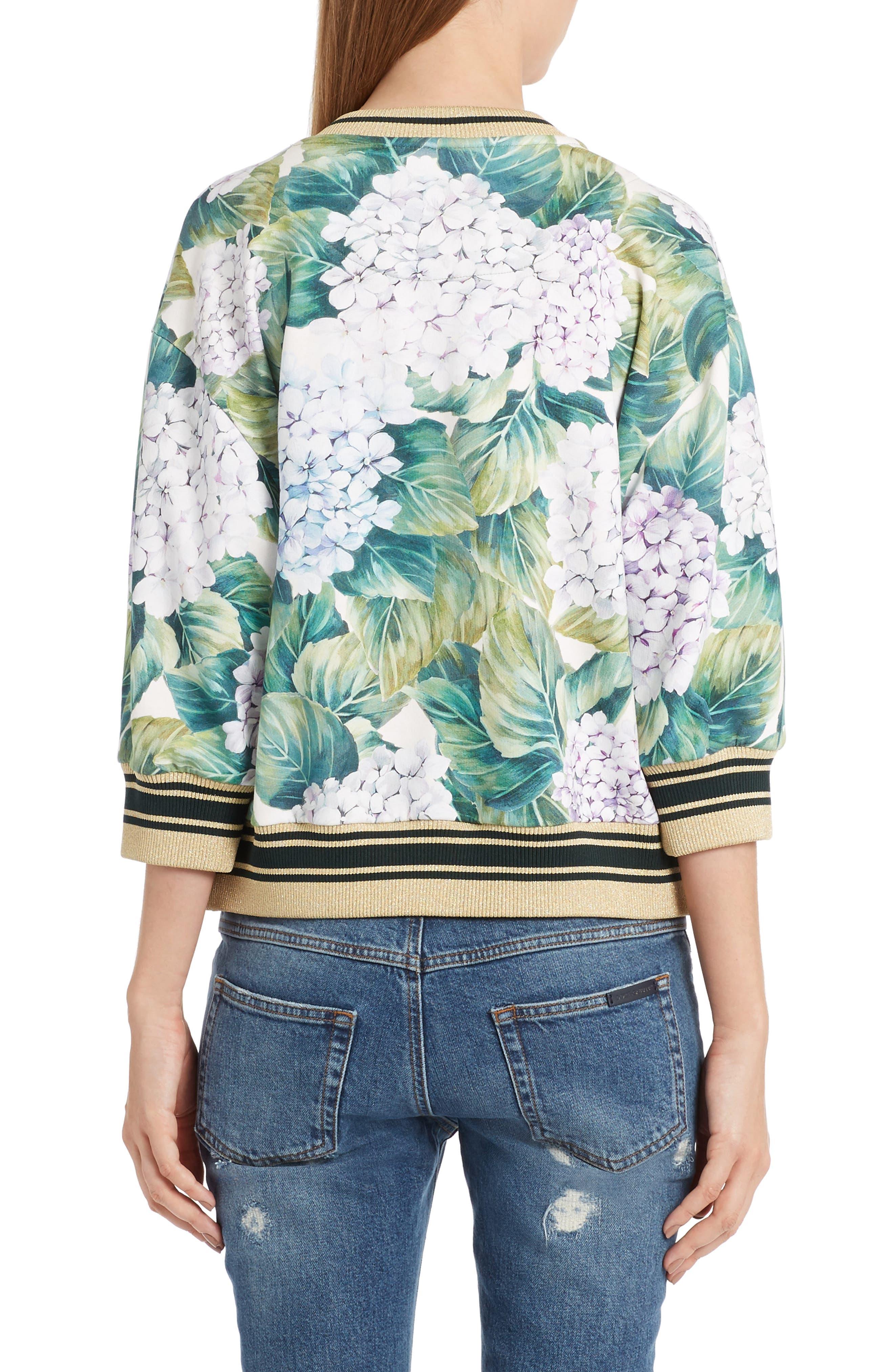 Hydrangea Print Sweatshirt,                             Alternate thumbnail 2, color,                             301