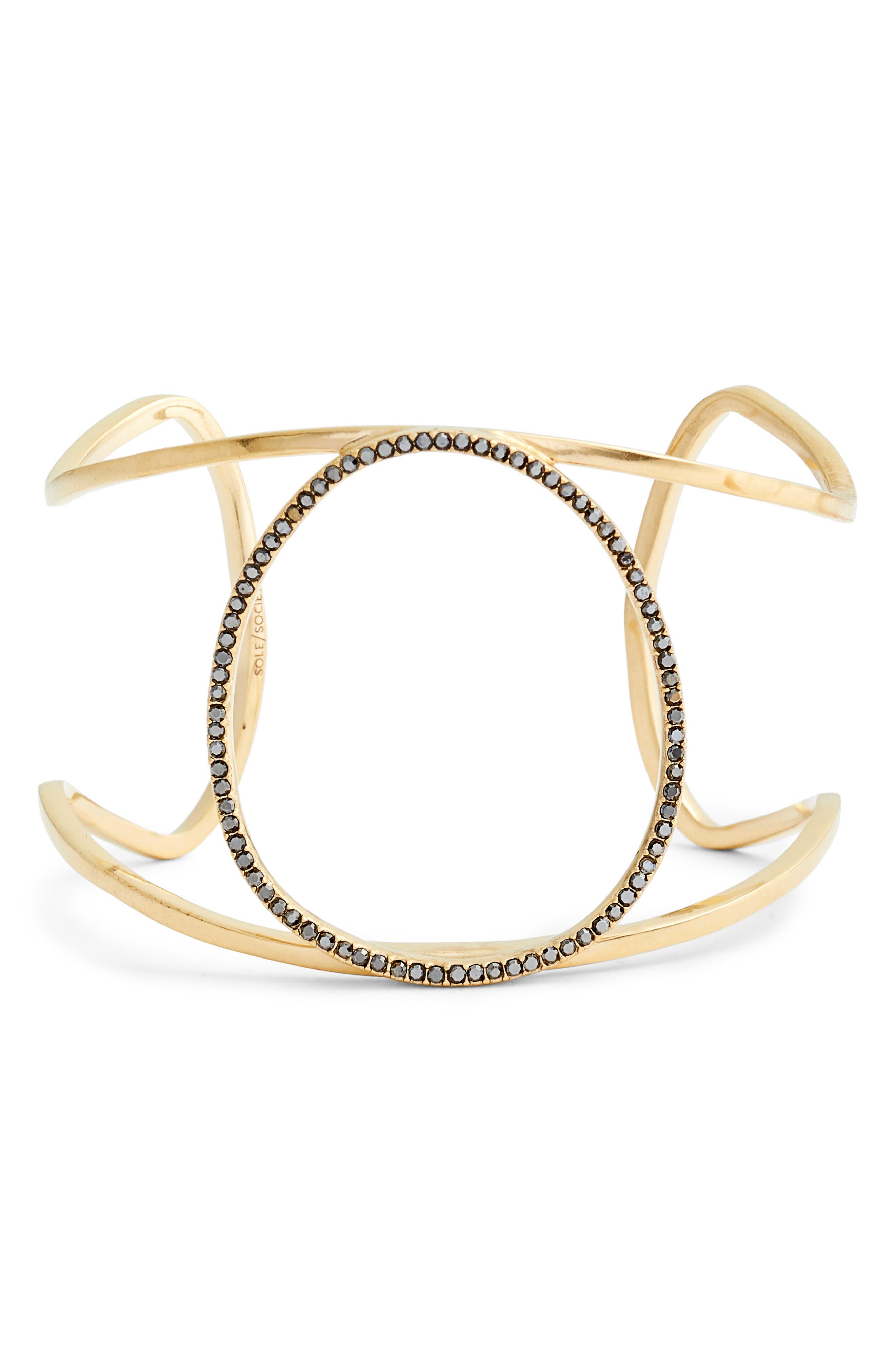 Crystal Embellished Large Cuff Bracelet.,                         Main,                         color, VINTAGE GOLD/ HEMATITE