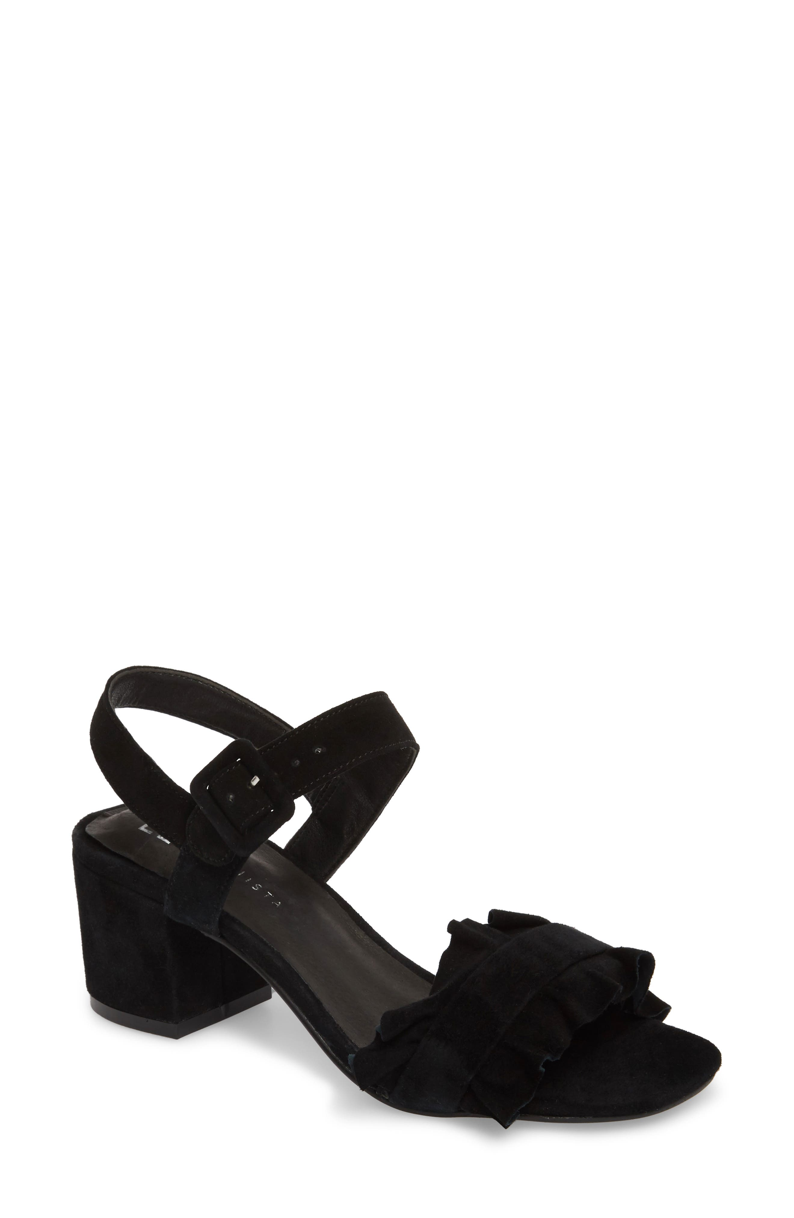 Sandie Block Heel Sandal,                         Main,                         color, BLACK SUEDE