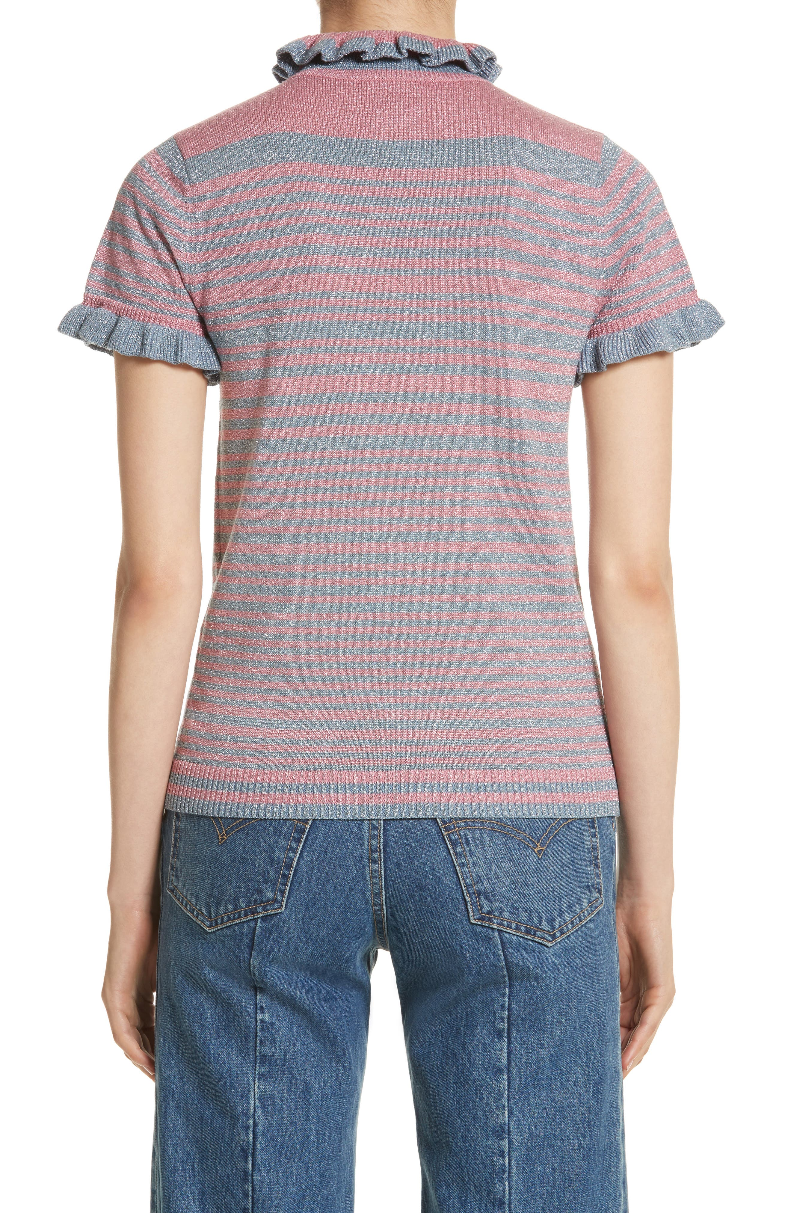 Joan Metallic Stripe Short Sleeve Sweater,                             Alternate thumbnail 2, color,                             400