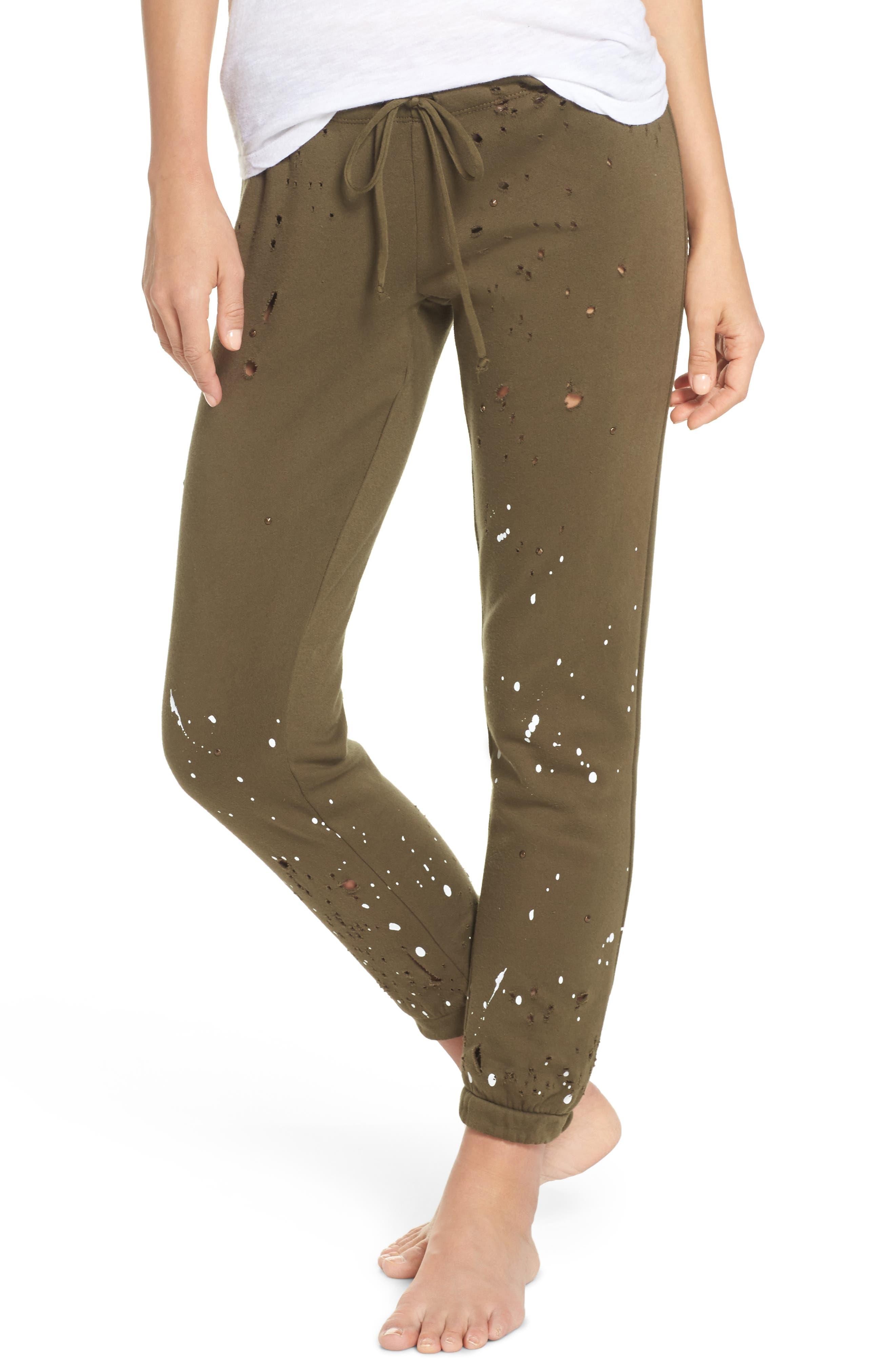 Distressed Fleece Jogger Lounge Pants,                             Main thumbnail 2, color,