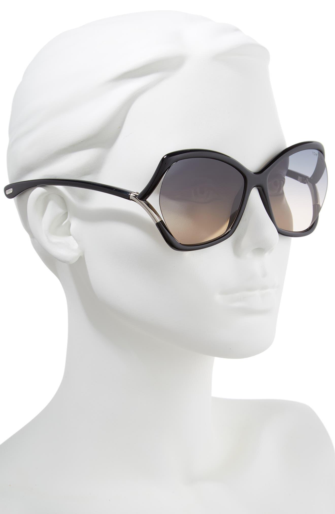 Astrid 61mm Geometric Sunglasses,                             Alternate thumbnail 2, color,                             SHINY BLACK/ GRADIENT SMOKE