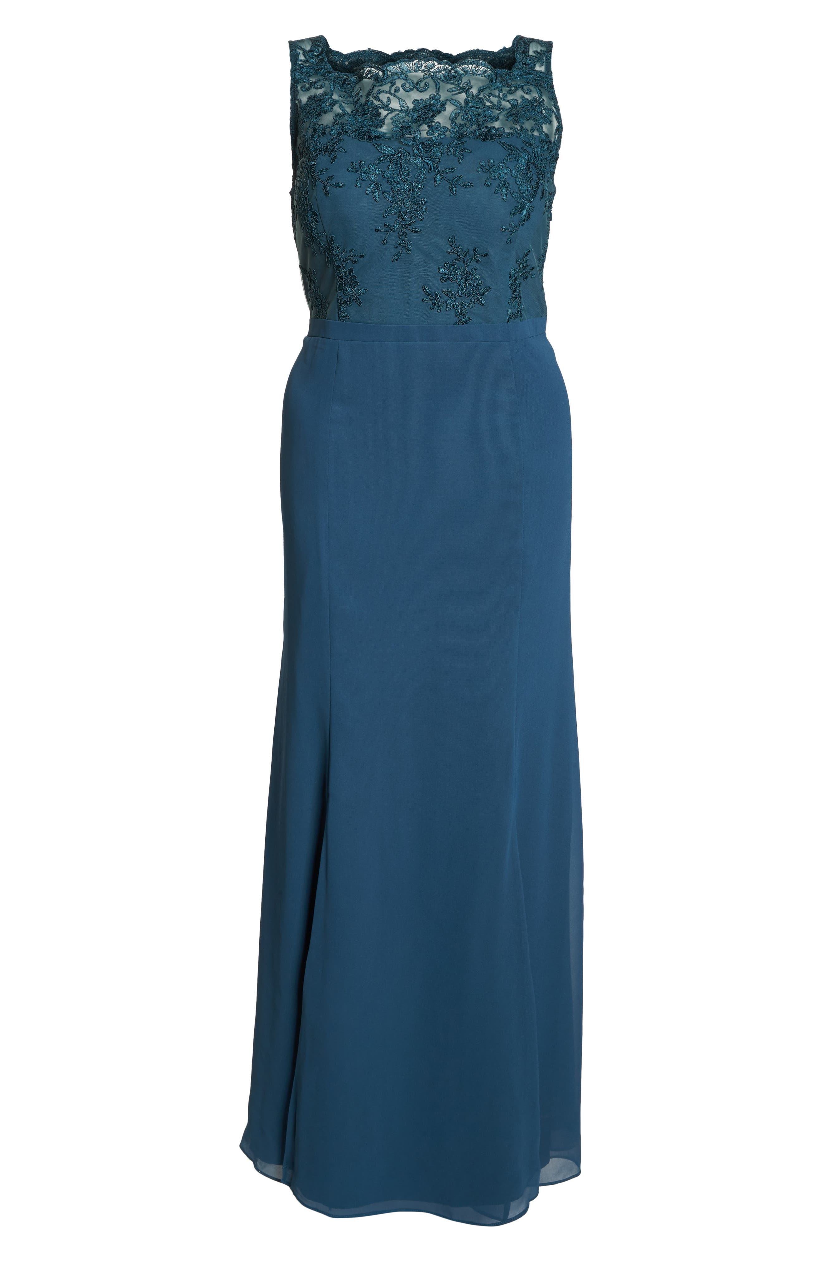 Embroidered Gown,                             Alternate thumbnail 7, color,                             GREEN