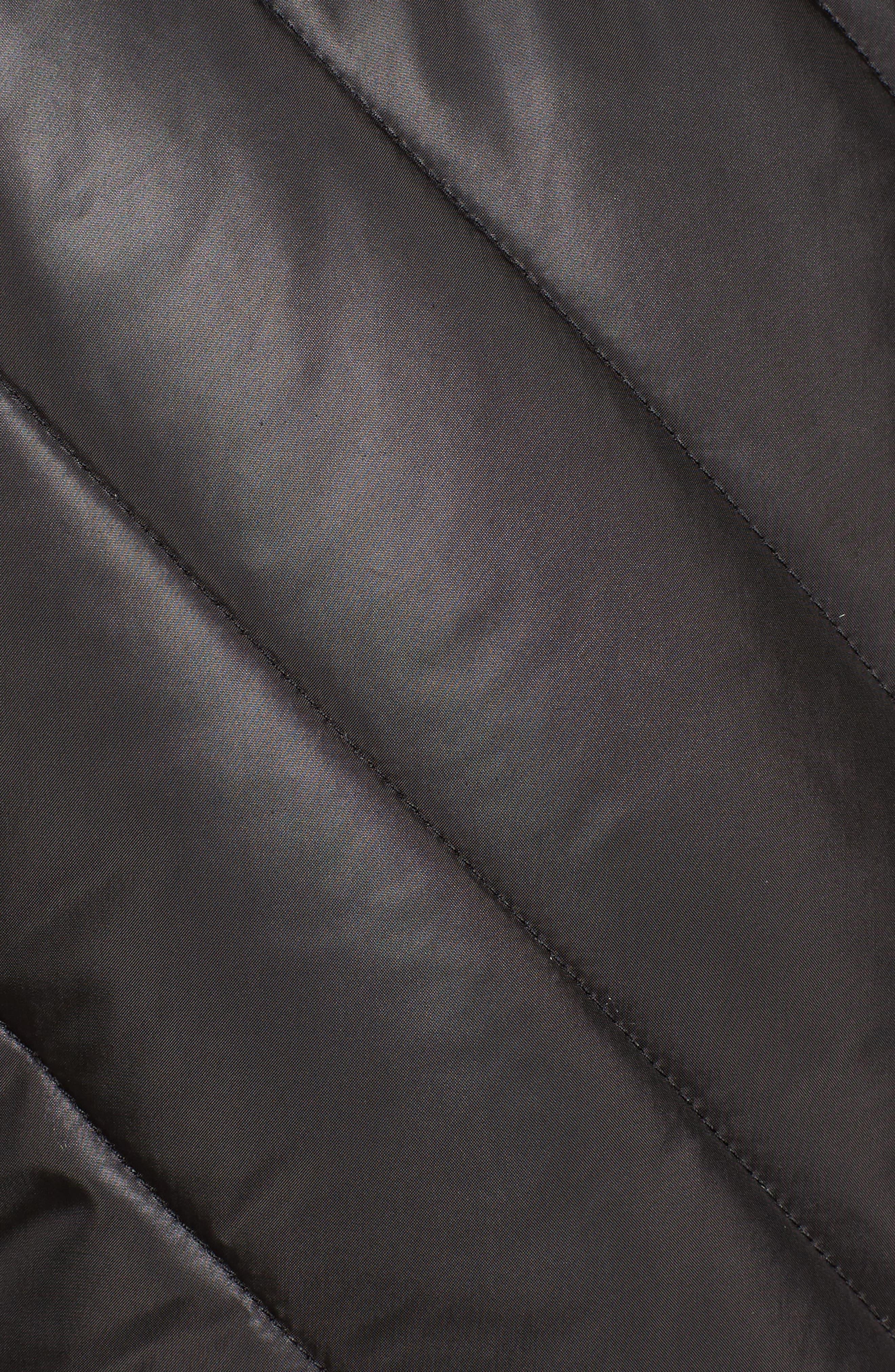 Merino Wool Trim Puffer Vest,                             Alternate thumbnail 6, color,                             001