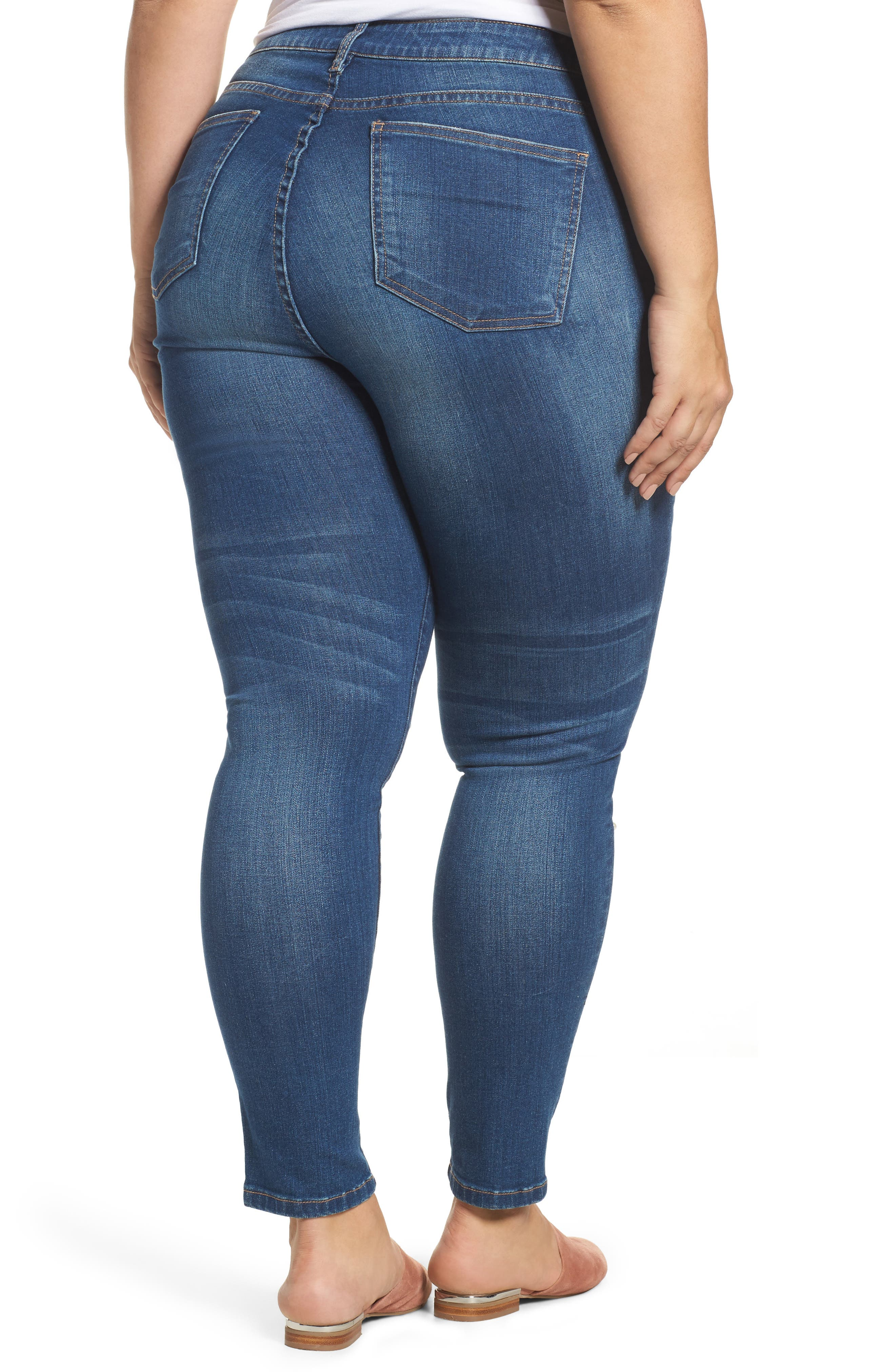 Brigitte Embellished Skinny Ankle Jeans,                             Alternate thumbnail 2, color,                             BEWITCHING