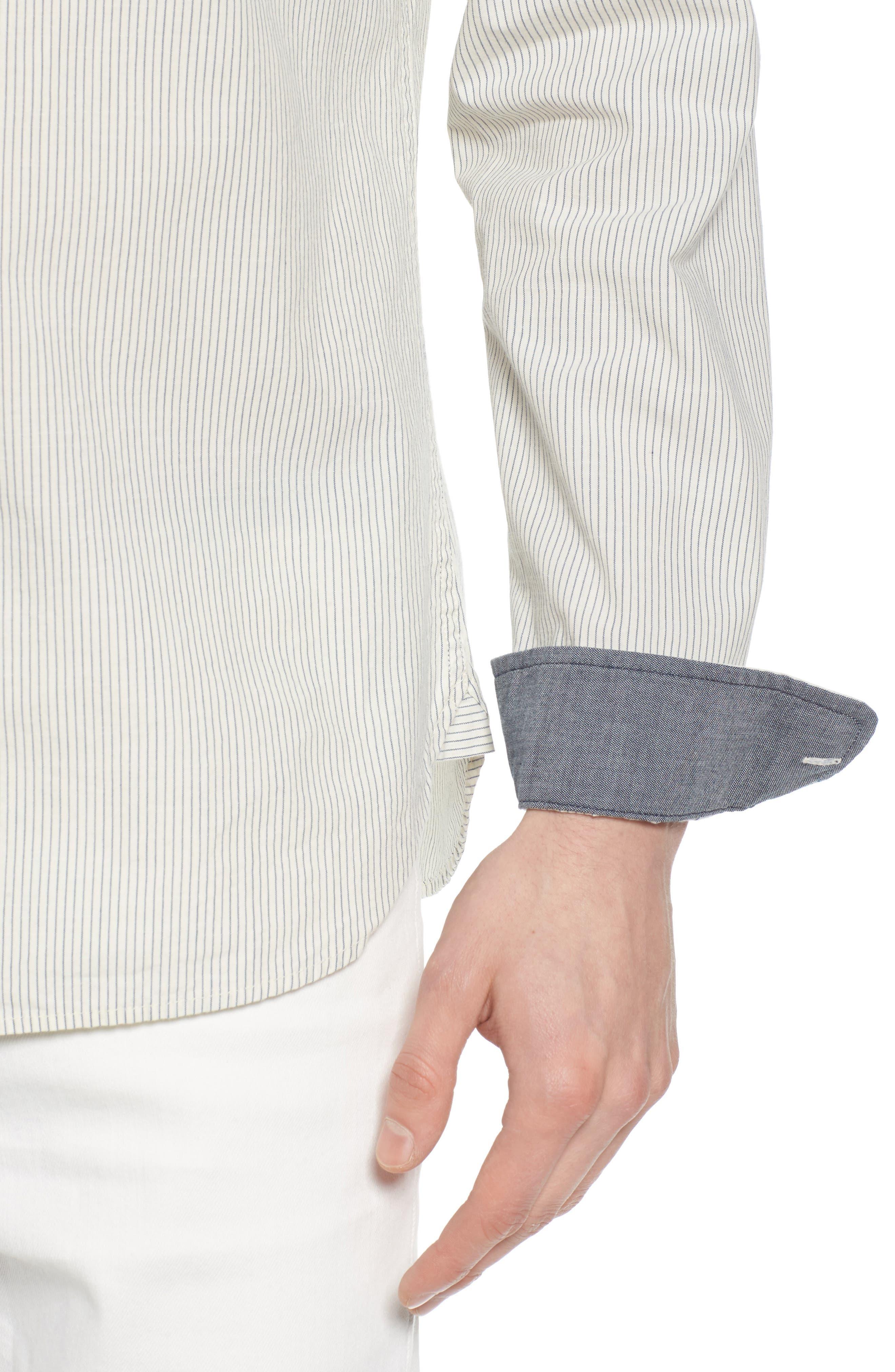 Colton Regular Fit Stripe Sport Shirt,                             Alternate thumbnail 4, color,