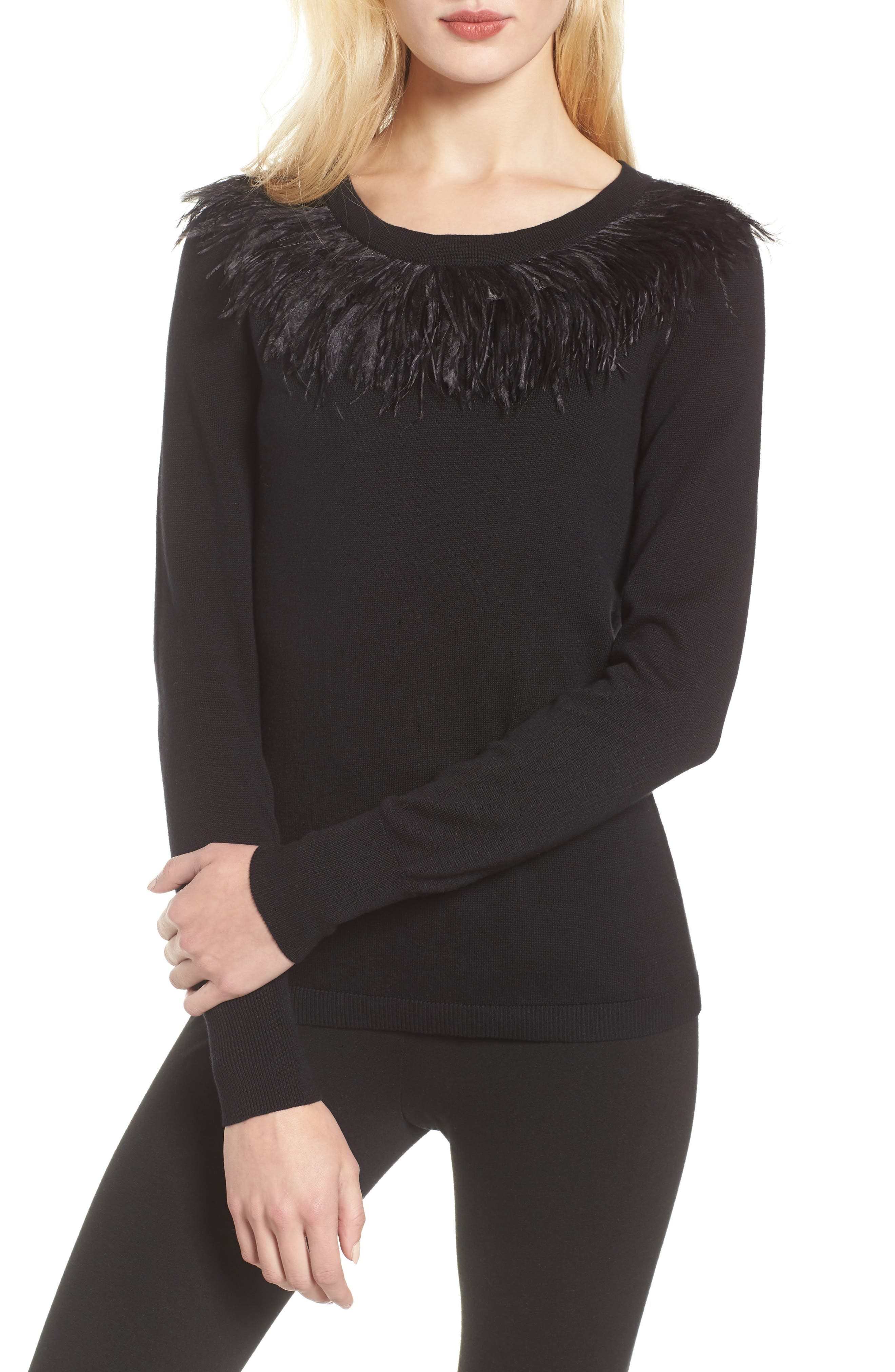 VINCE CAMUTO,                             Feather Collar Sweater,                             Main thumbnail 1, color,                             006
