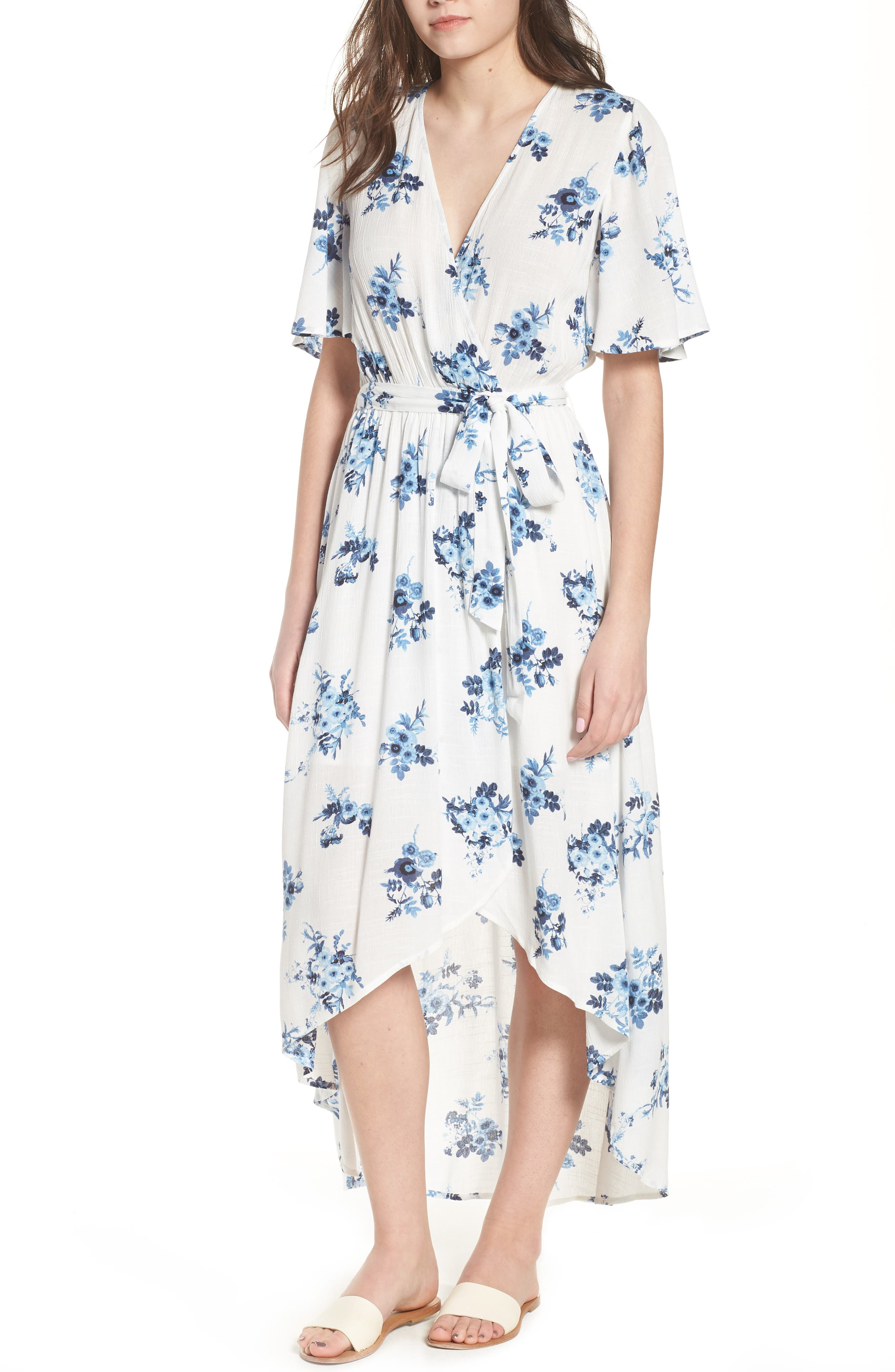 Floral Midi Wrap Dress,                             Main thumbnail 1, color,