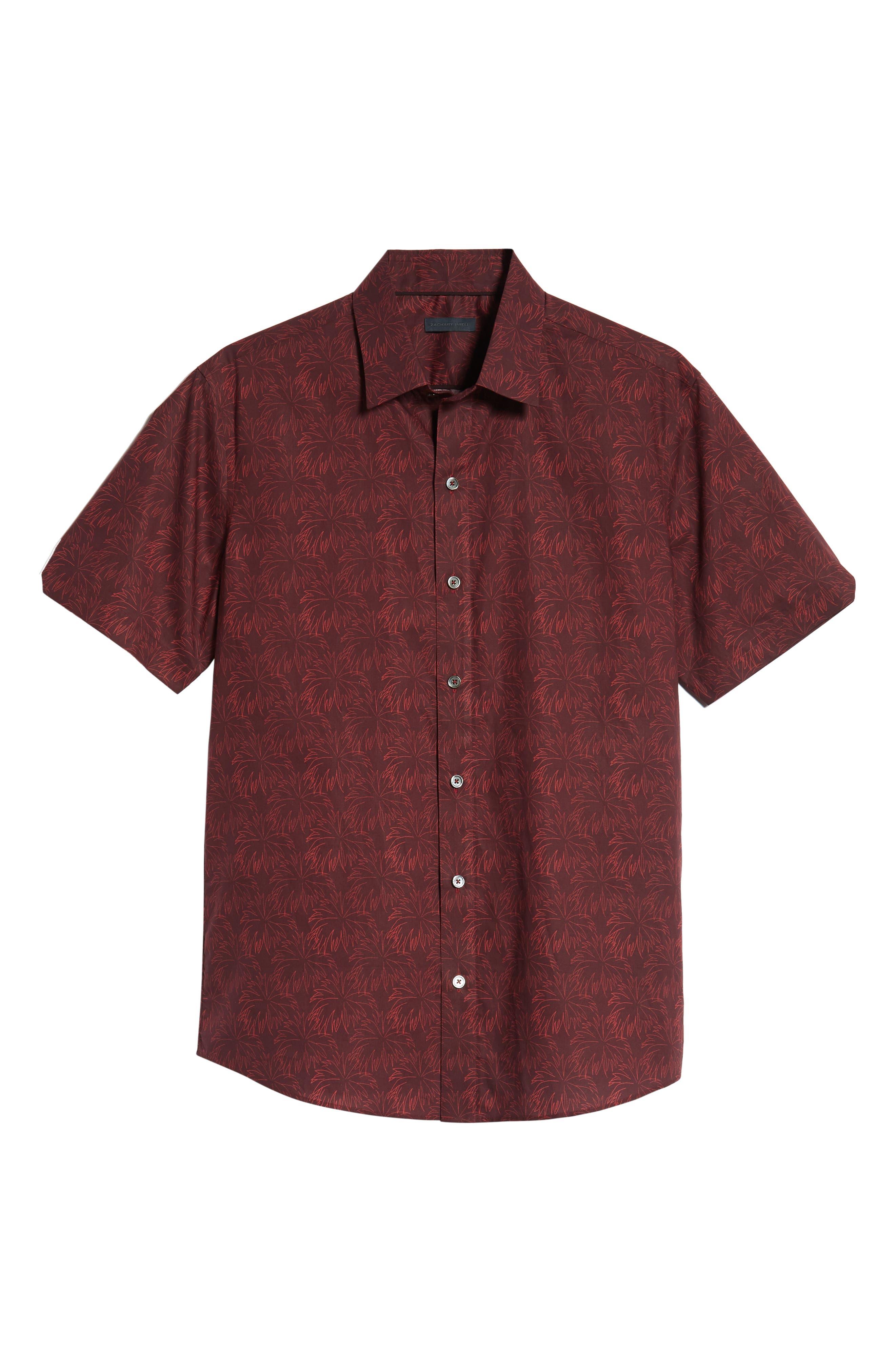Rinaldi Regular Fit Pattern Sport Shirt,                             Alternate thumbnail 5, color,                             MAROON