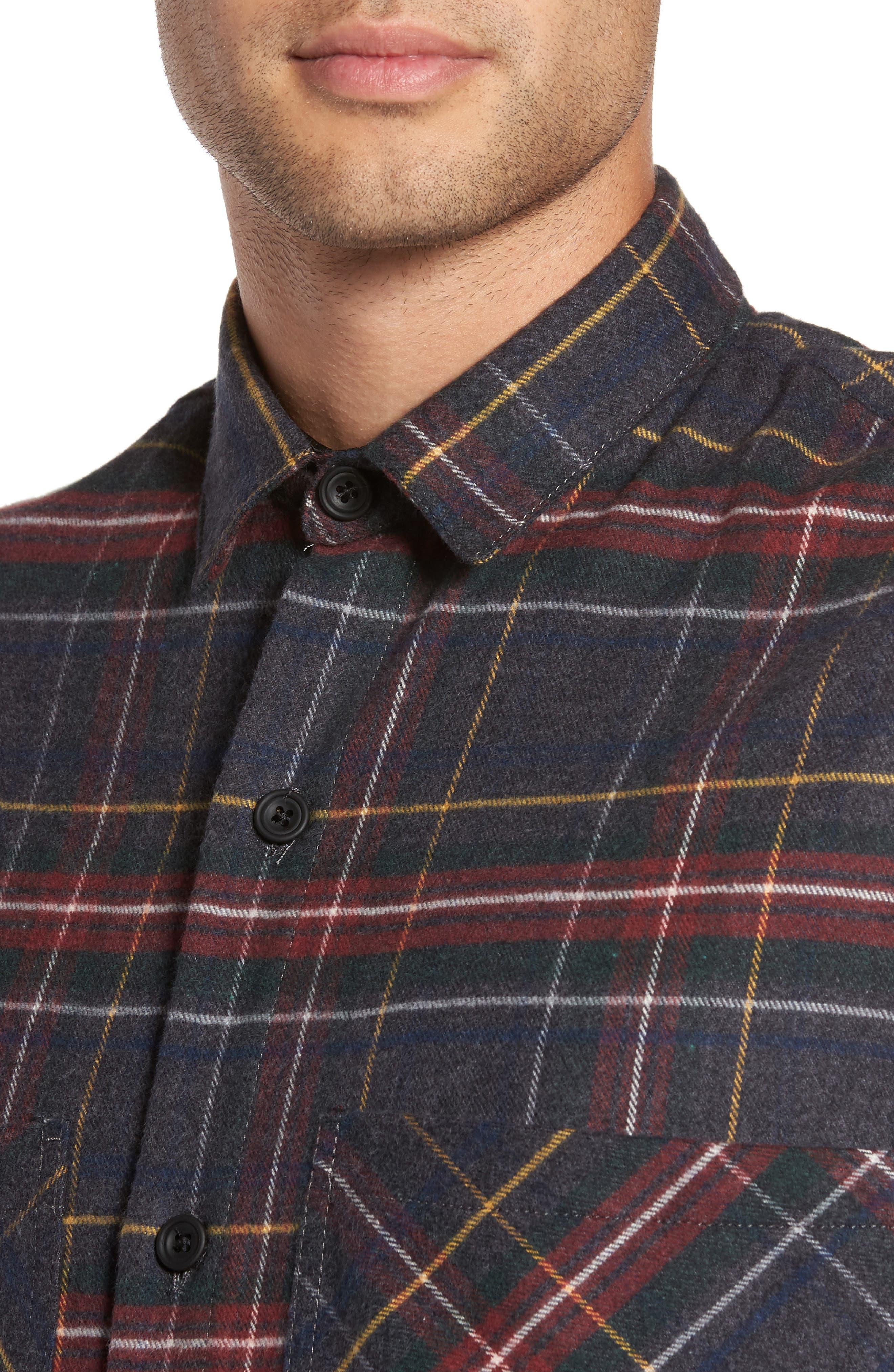 Standard Fit Plaid Sport Shirt,                             Alternate thumbnail 4, color,                             020