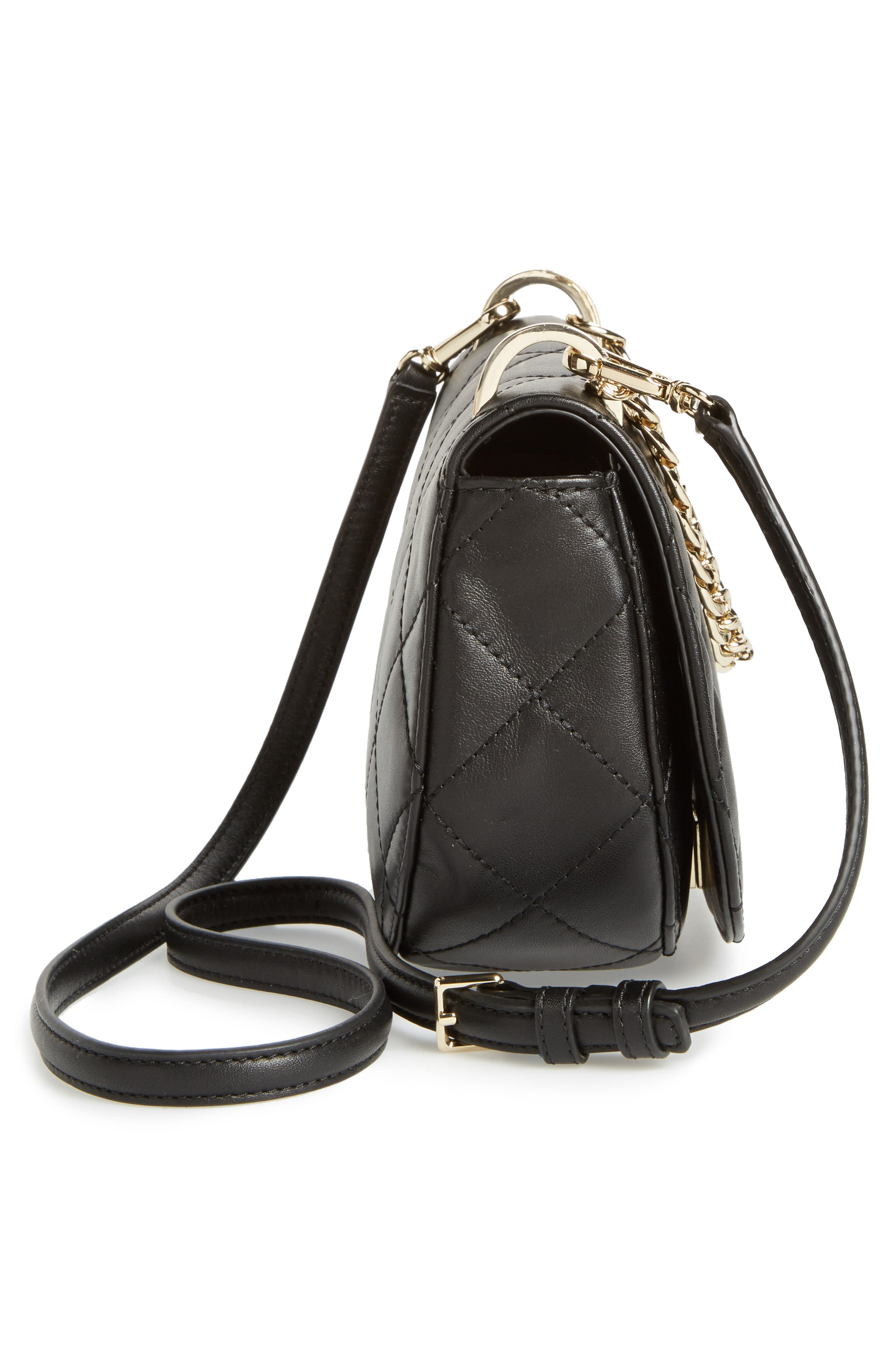 emerson place - rita quilted leather crossbody bag,                             Alternate thumbnail 5, color,                             001