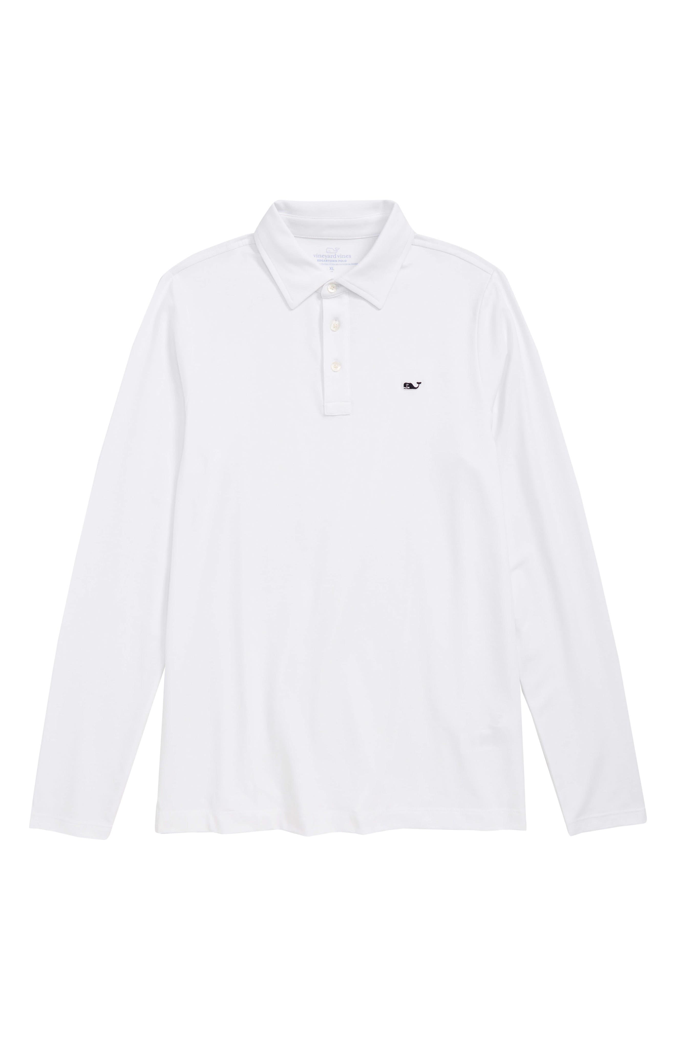 Edgartown Long Sleeve Polo,                         Main,                         color, WHITE CAP