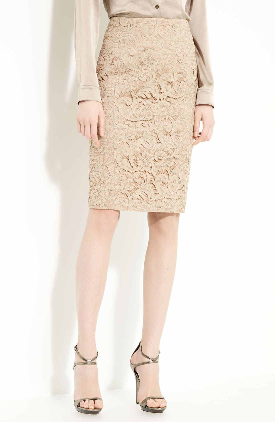 BURBERRY LONDON Lace Pencil Skirt, Main, color, 270