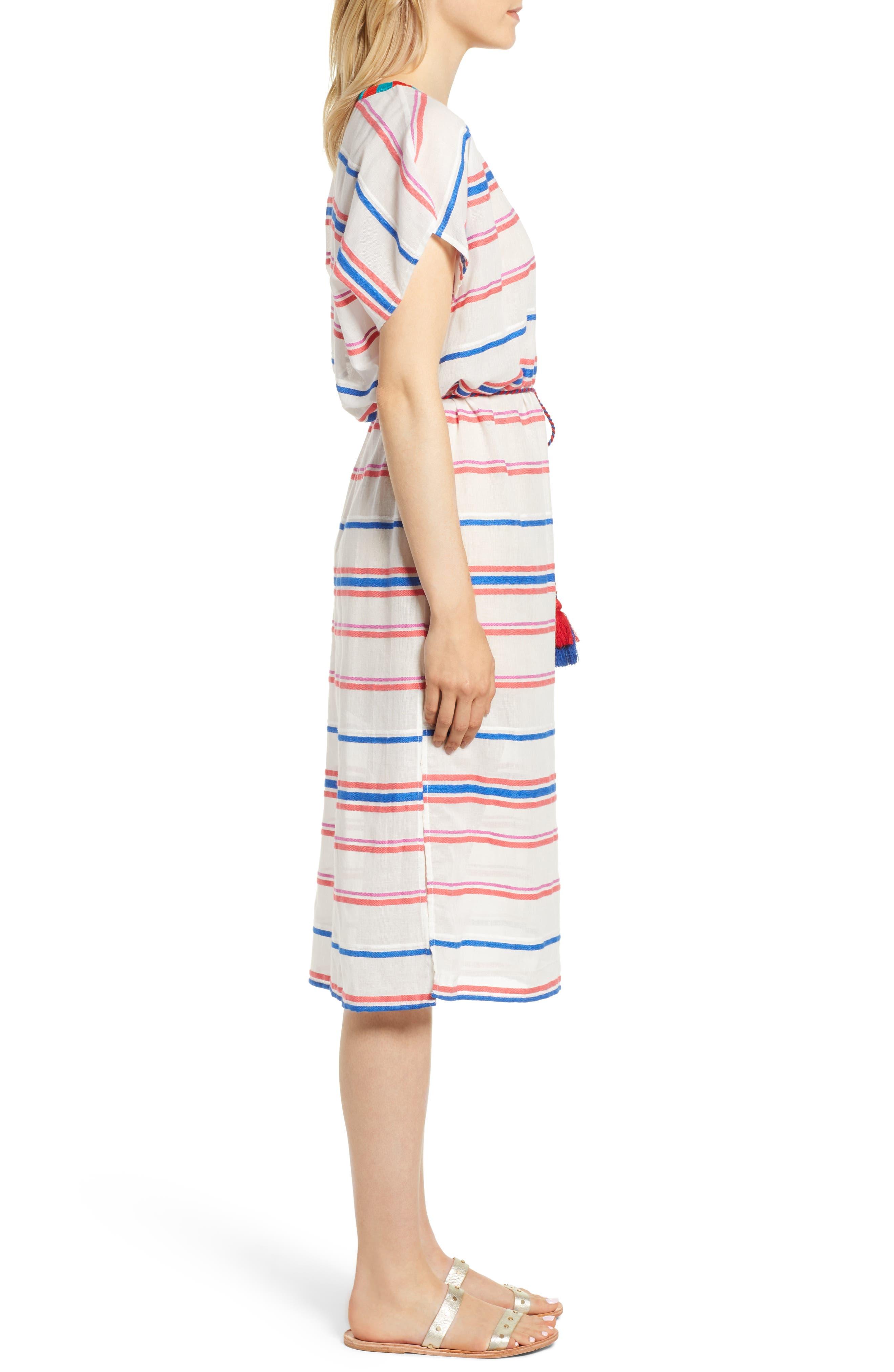 Stripe Caftan Dress,                             Alternate thumbnail 3, color,                             196