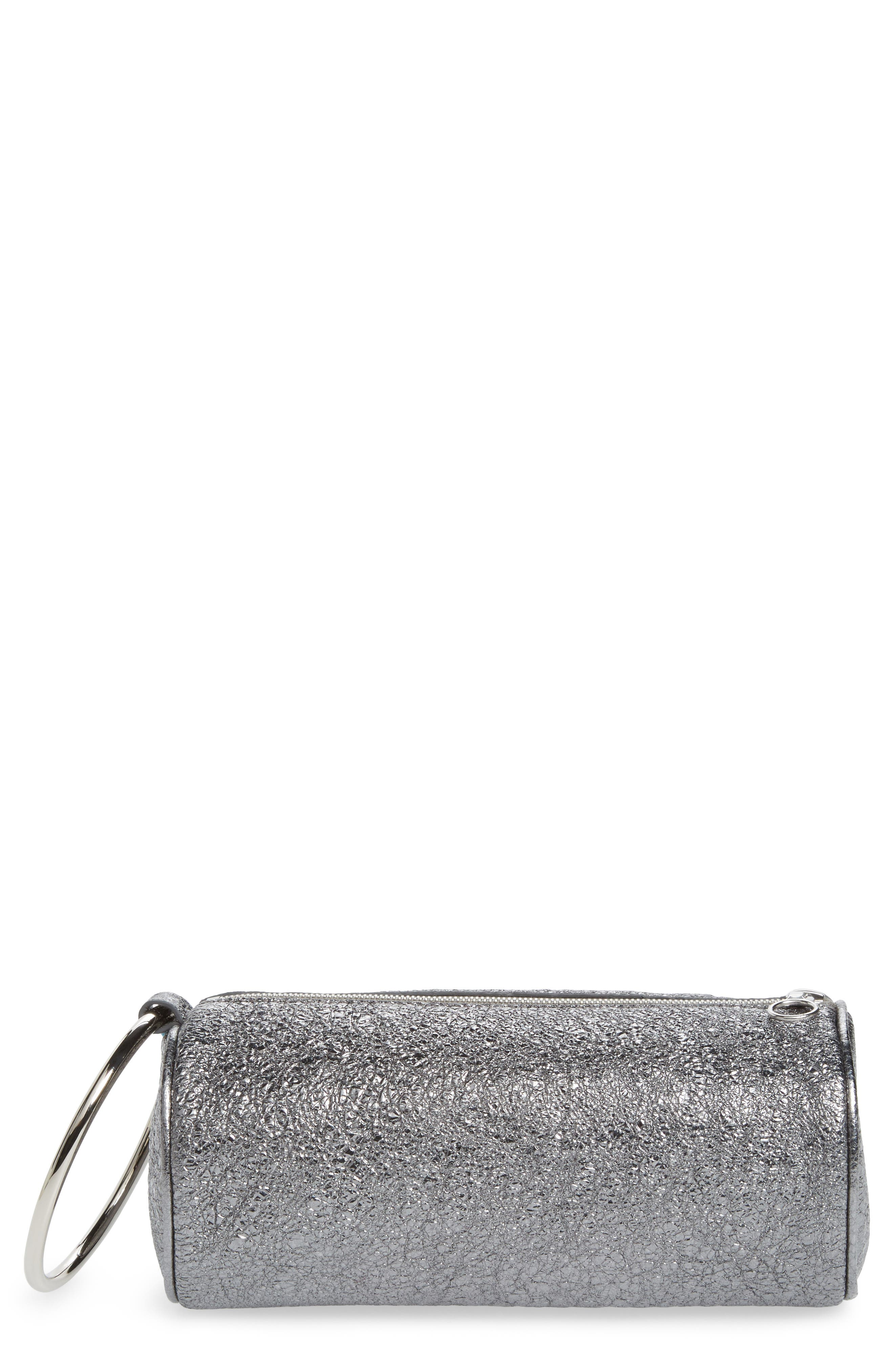 Crinkled Metallic Leather Duffel Wristlet Clutch,                             Main thumbnail 1, color,