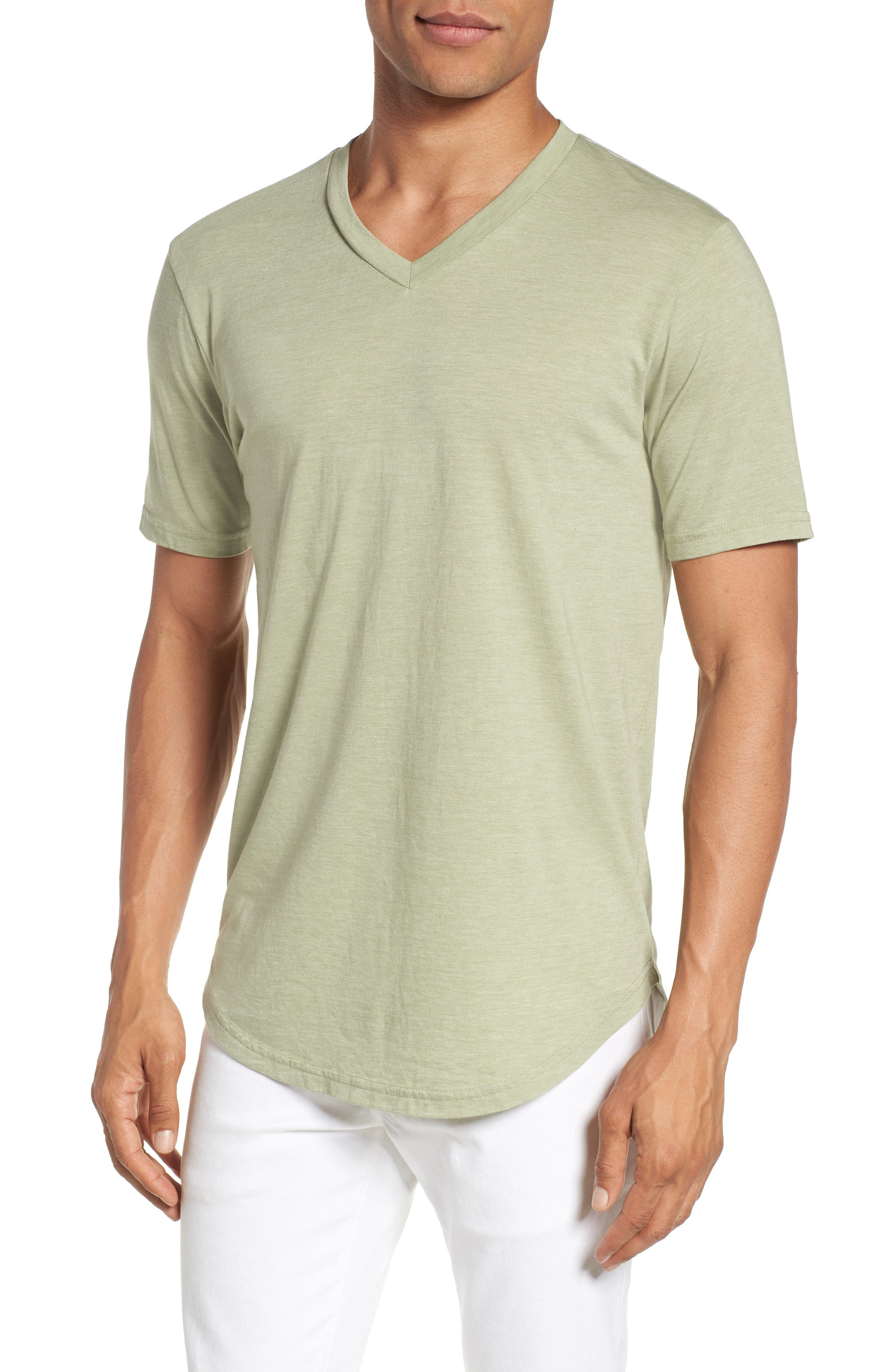 Scallop Triblend V-Neck T-Shirt,                         Main,                         color, SEAGRASS