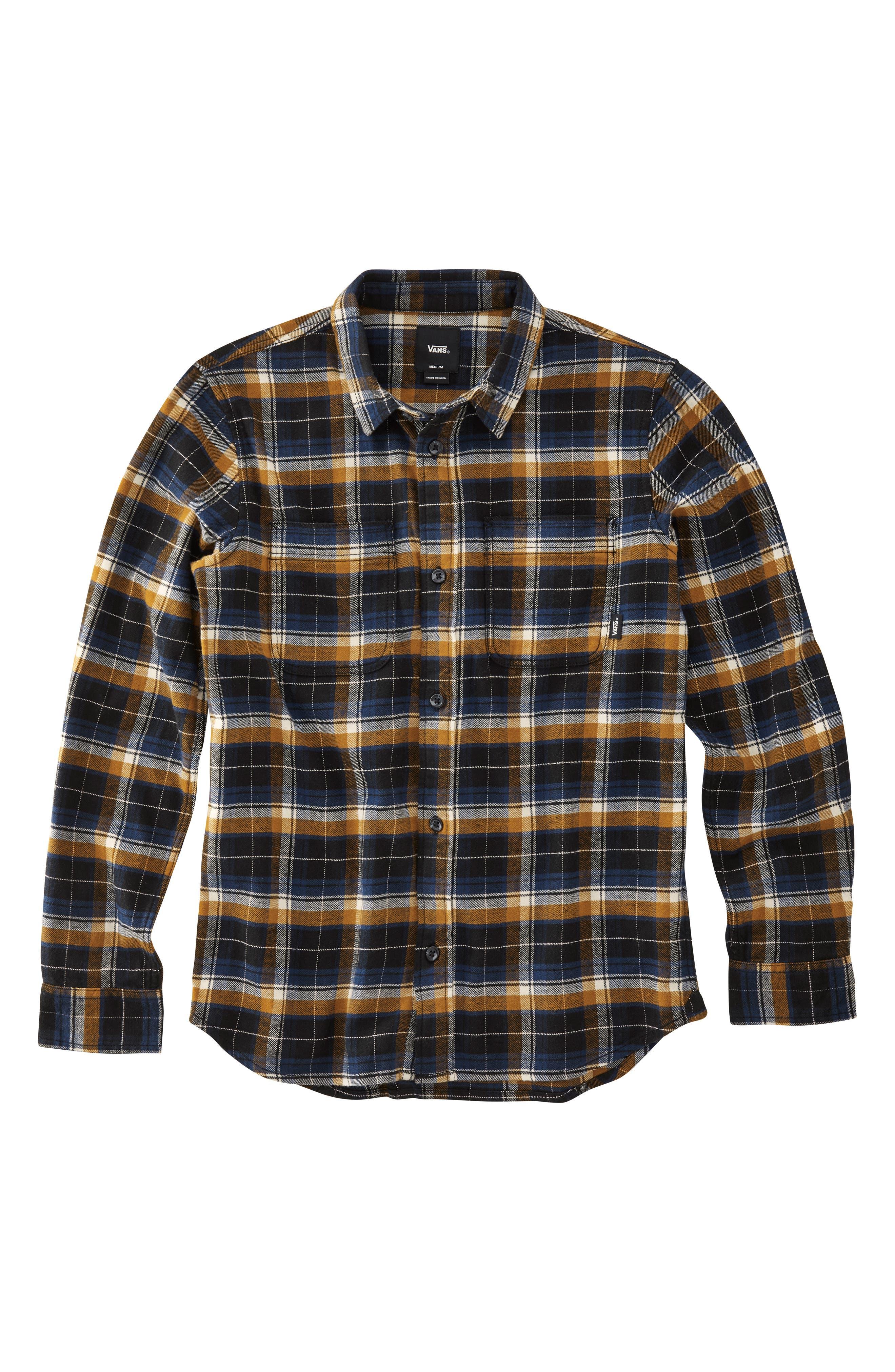 Banfield III Plaid Flannel Shirt,                         Main,                         color, BLACK/ RUBBER
