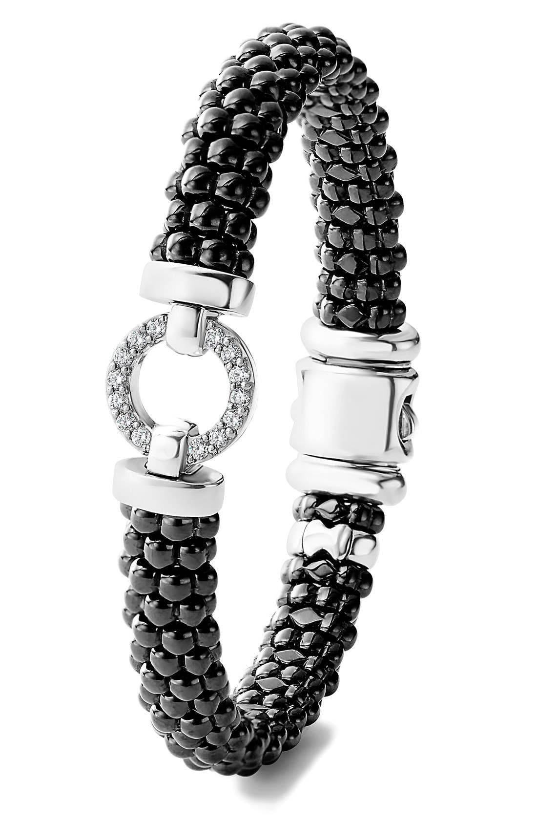 Black Caviar Bracelet,                             Alternate thumbnail 3, color,                             BLACK/ SILVER/ GOLD