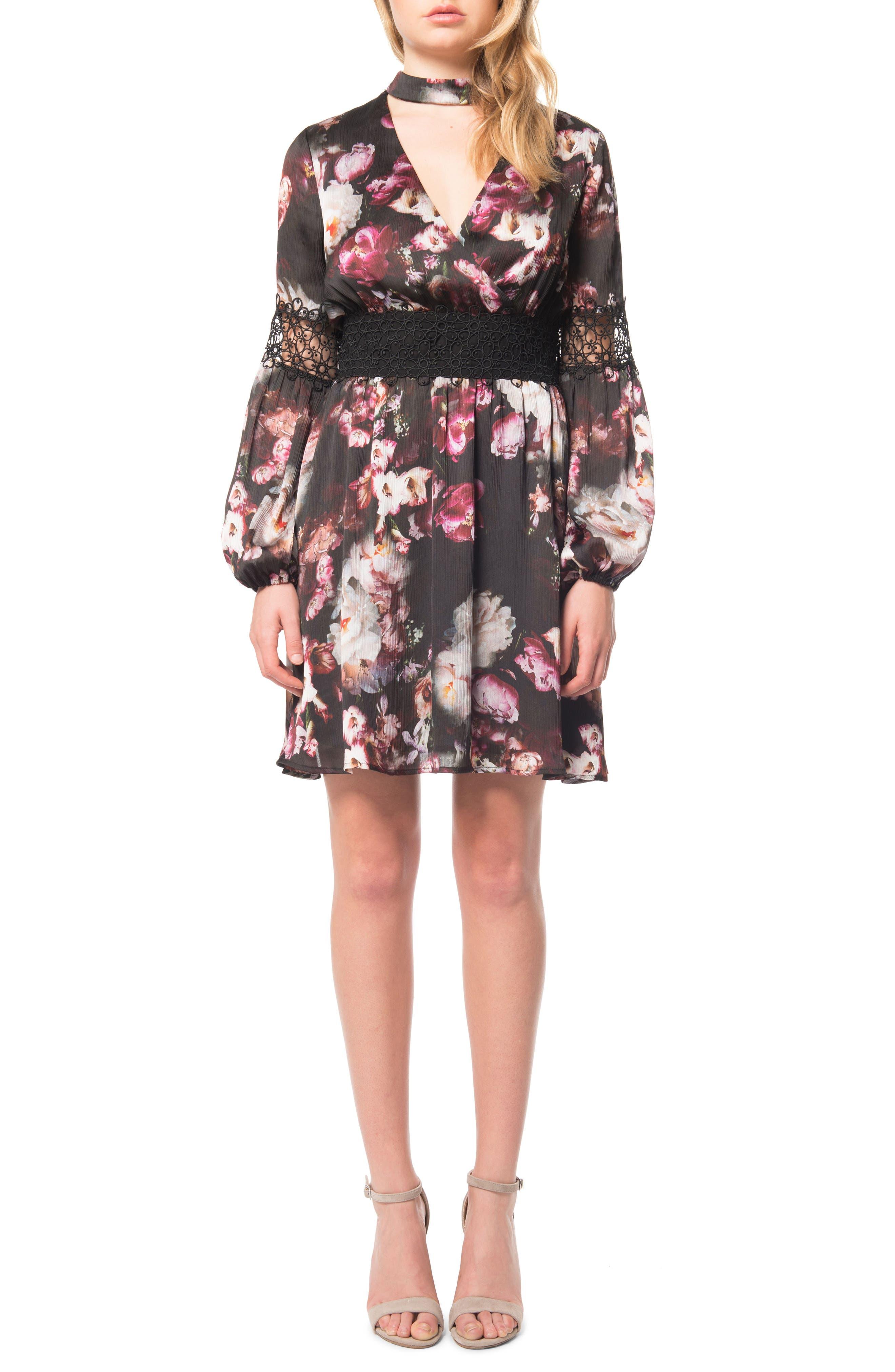 Floral Print Choker Dress,                             Main thumbnail 1, color,                             003