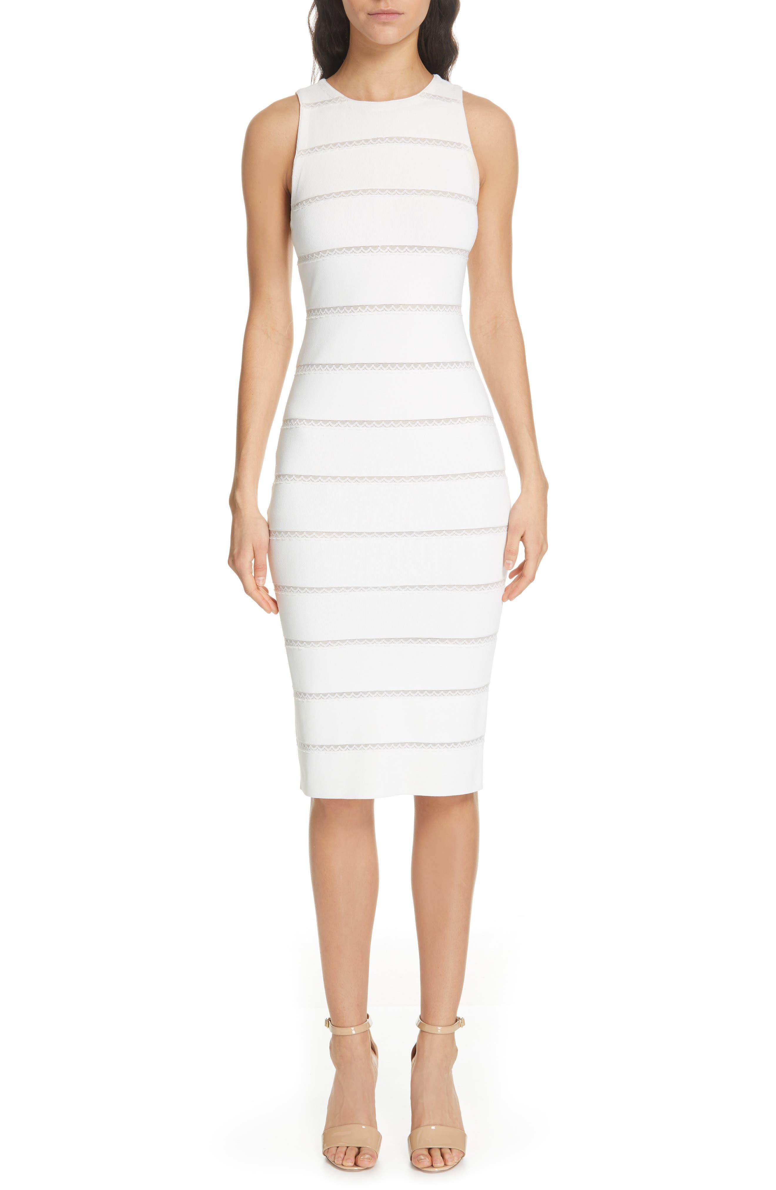 Alice + Olivia Jenner Lace Inset Sheath Dress, White