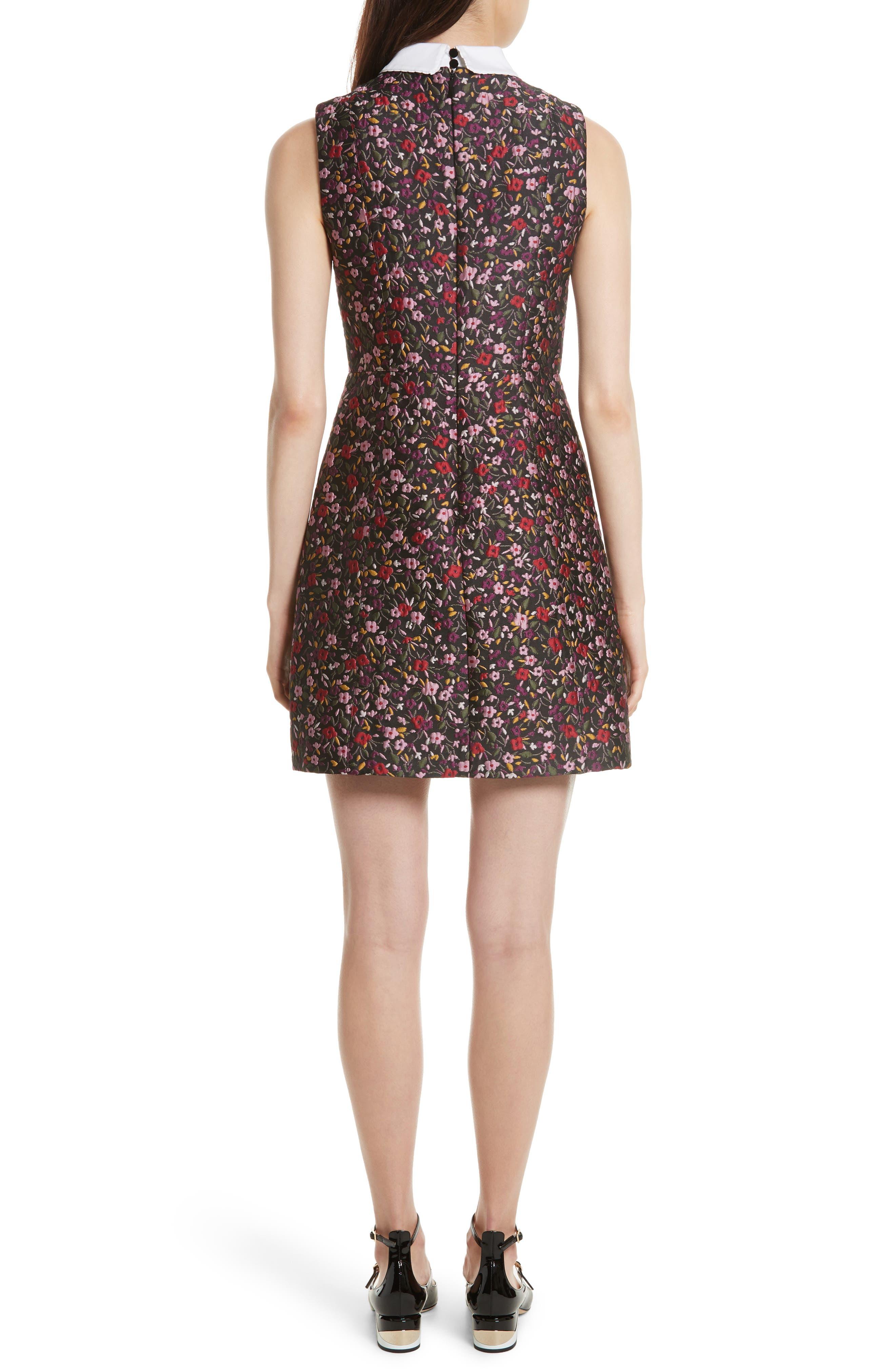 detachable collar floral jacquard dress,                             Alternate thumbnail 2, color,                             006