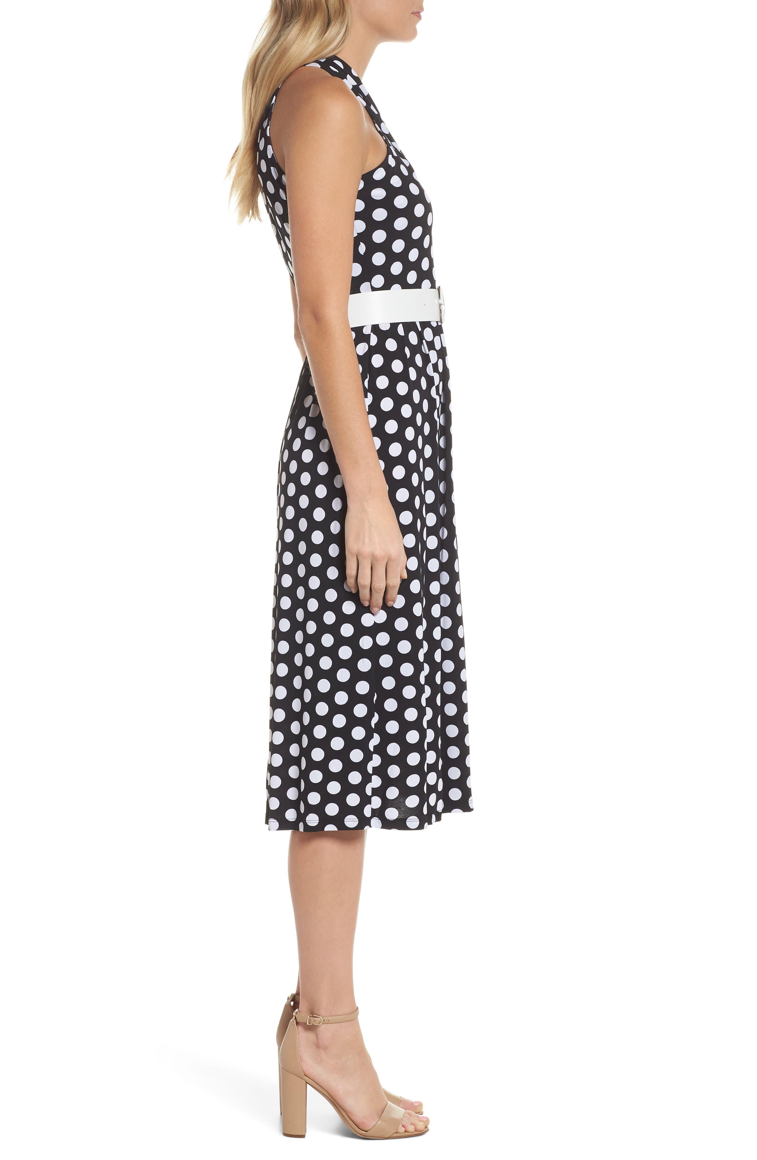 Dot Deluxe Halter Midi Dress,                             Alternate thumbnail 3, color,                             008