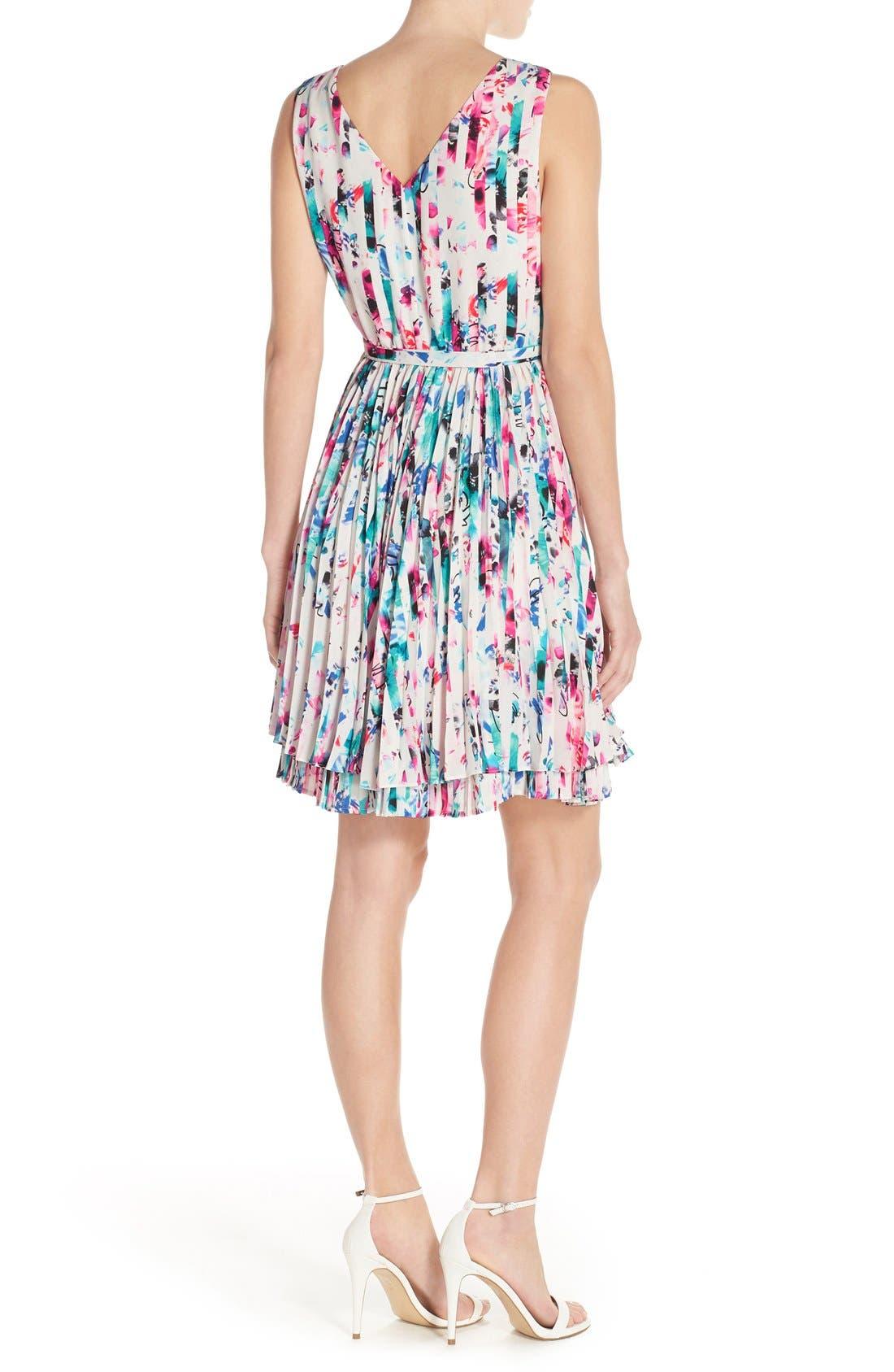 Print Woven Fit & Flare Dress,                             Alternate thumbnail 2, color,                             610