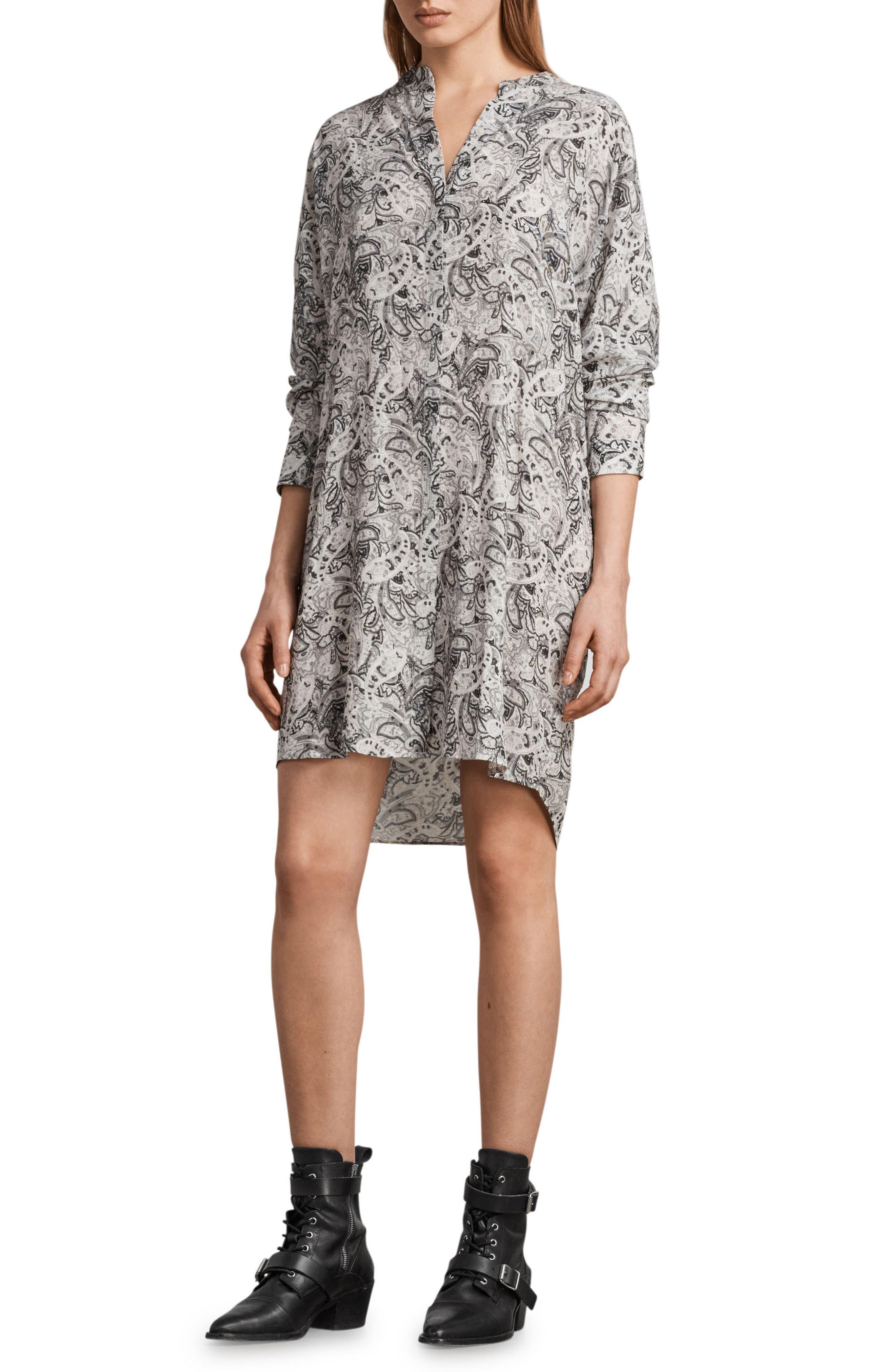 Cayla Paisley Shirtdress,                             Main thumbnail 1, color,                             100