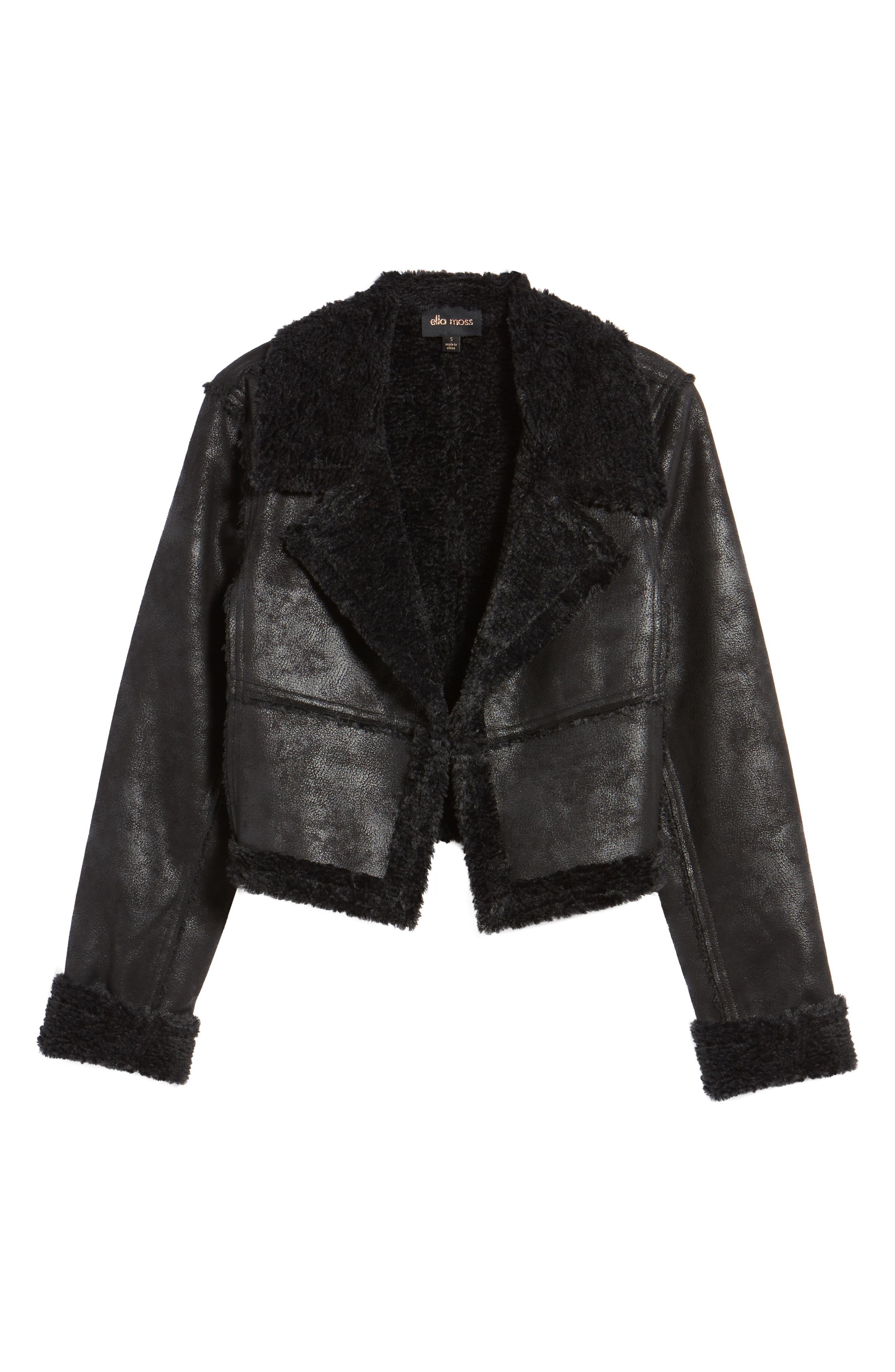 Claudine Faux Shearling Moto Jacket,                             Alternate thumbnail 5, color,                             001