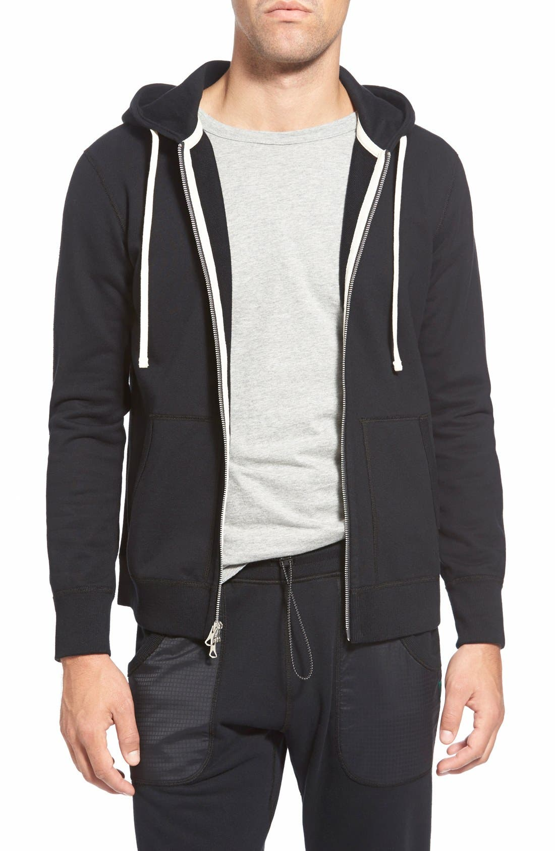 Core Zip Front Hoodie,                         Main,                         color, BLACK