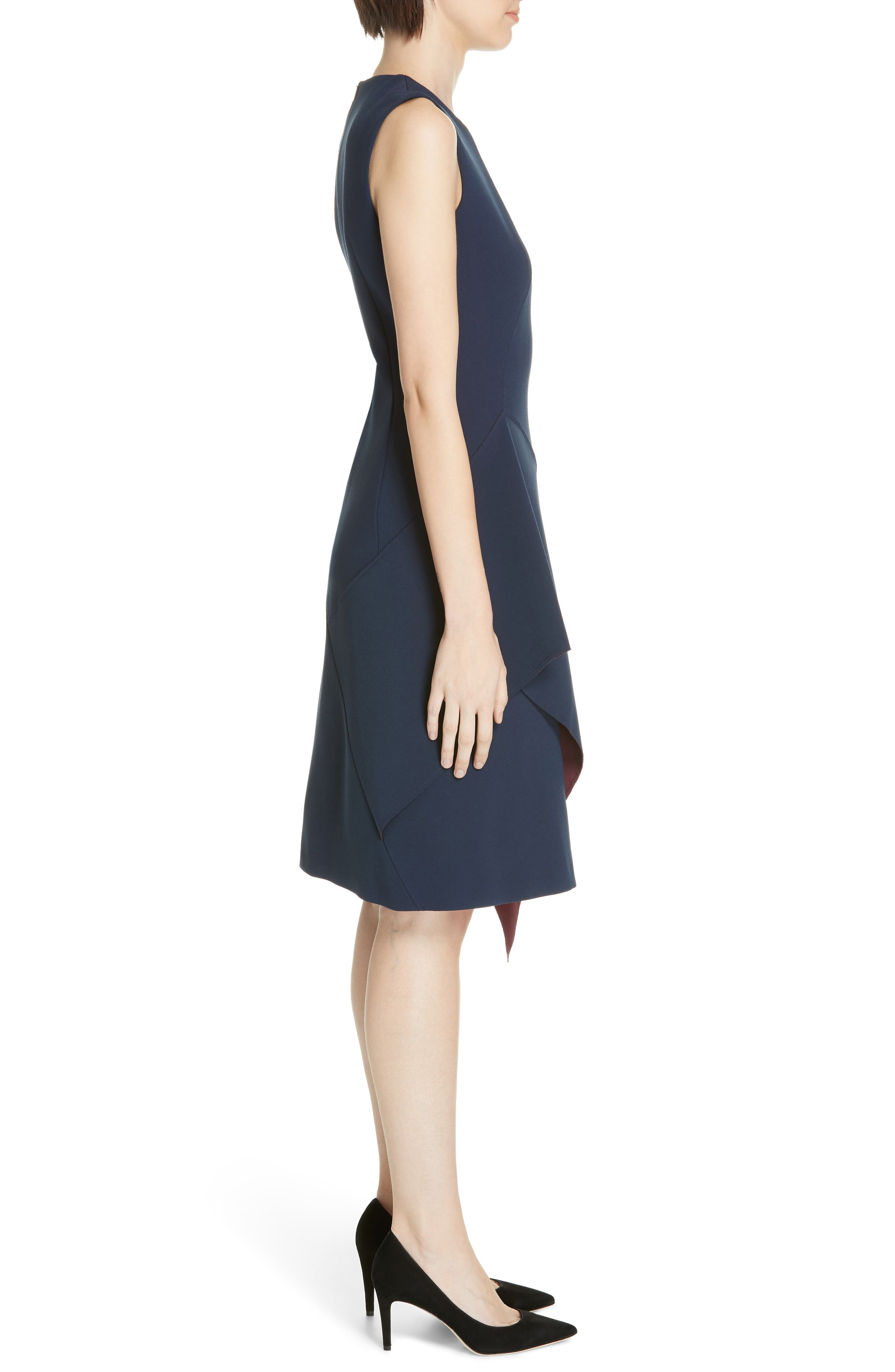 Delakety Asymmetrical A-Line Dress,                             Alternate thumbnail 3, color,                             DEEP BLUE FANTASY
