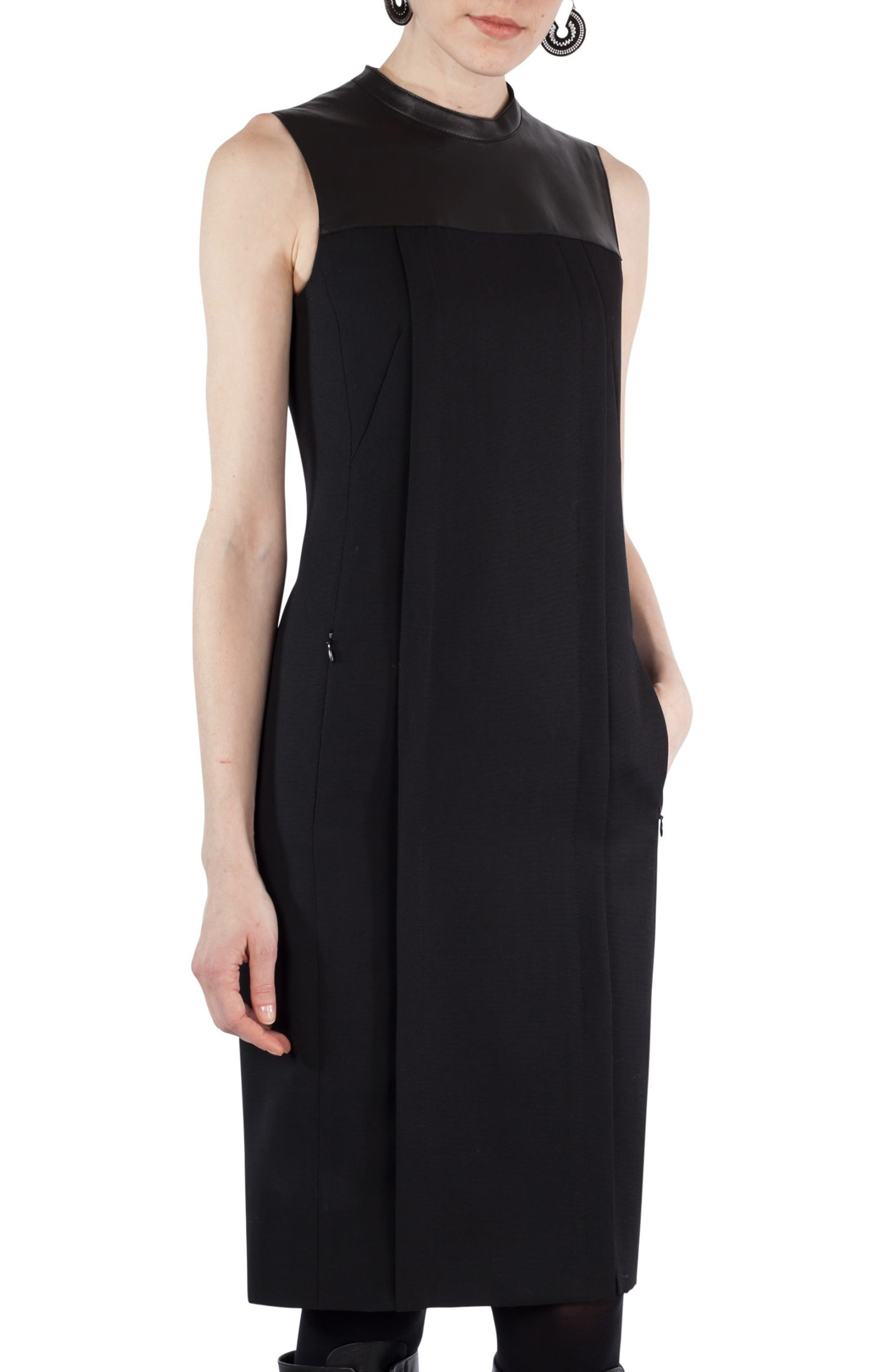 AKRIS PUNTO Wool & Leather Shift Dress, Main, color, 009