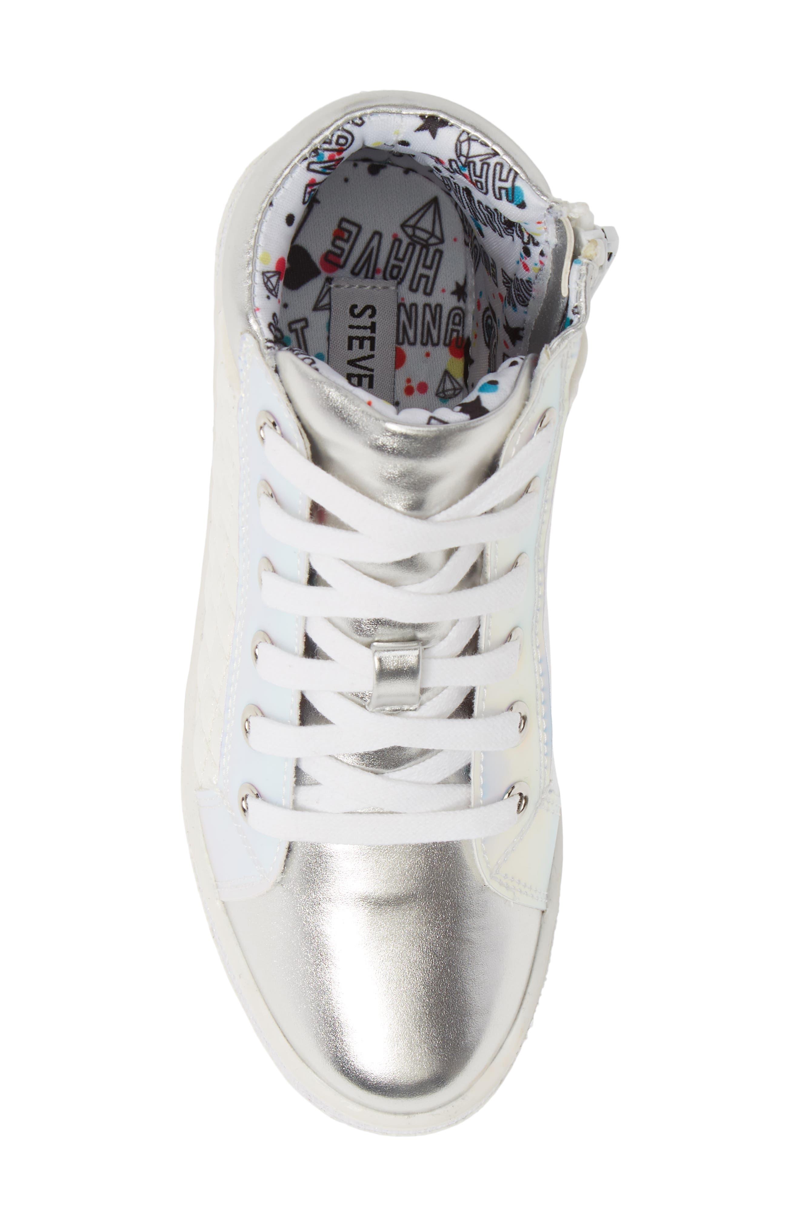 Glittery High Top Sneaker,                             Alternate thumbnail 5, color,                             WHITE