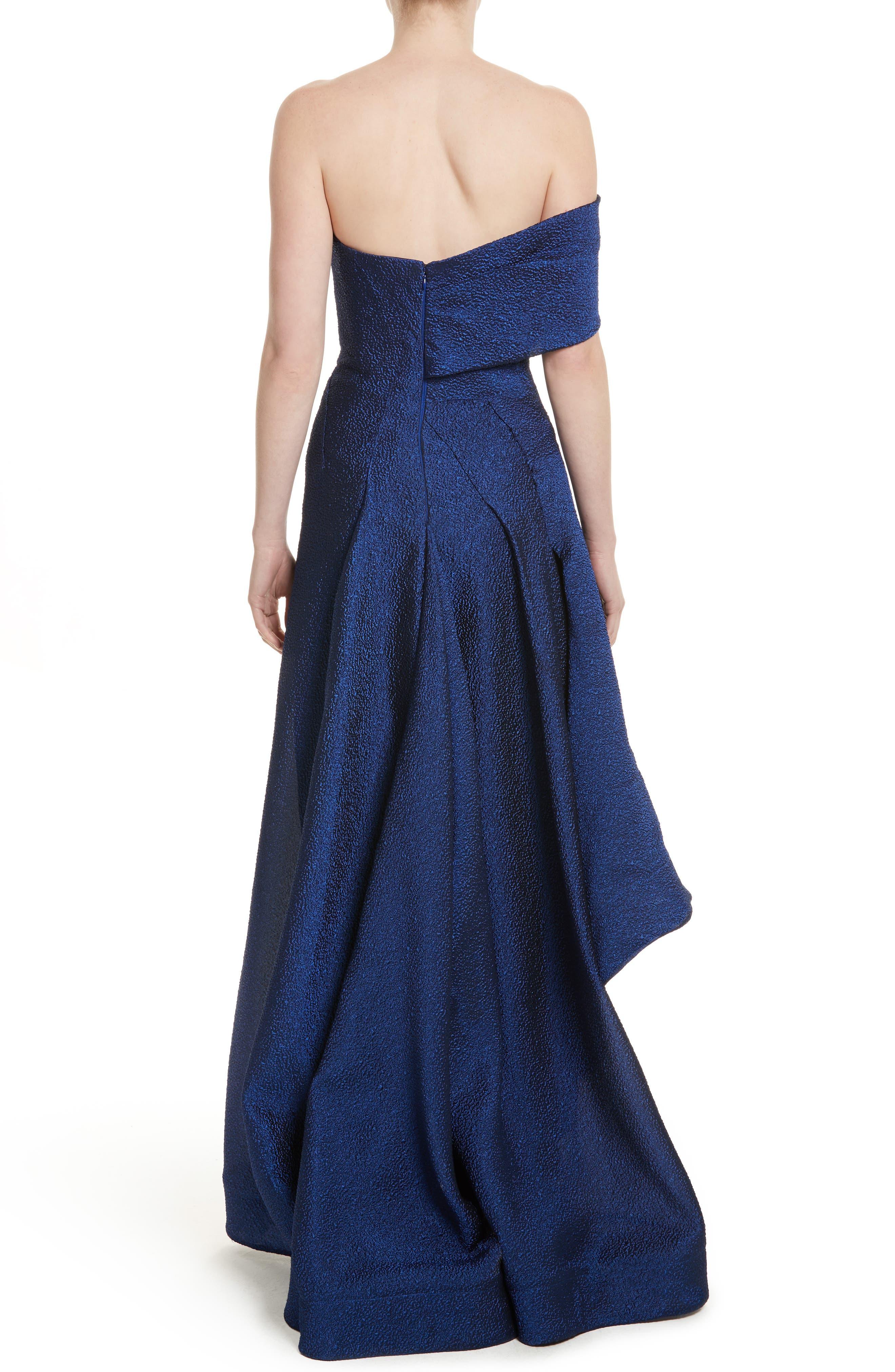 Side Drape Strapless Gown,                             Alternate thumbnail 2, color,
