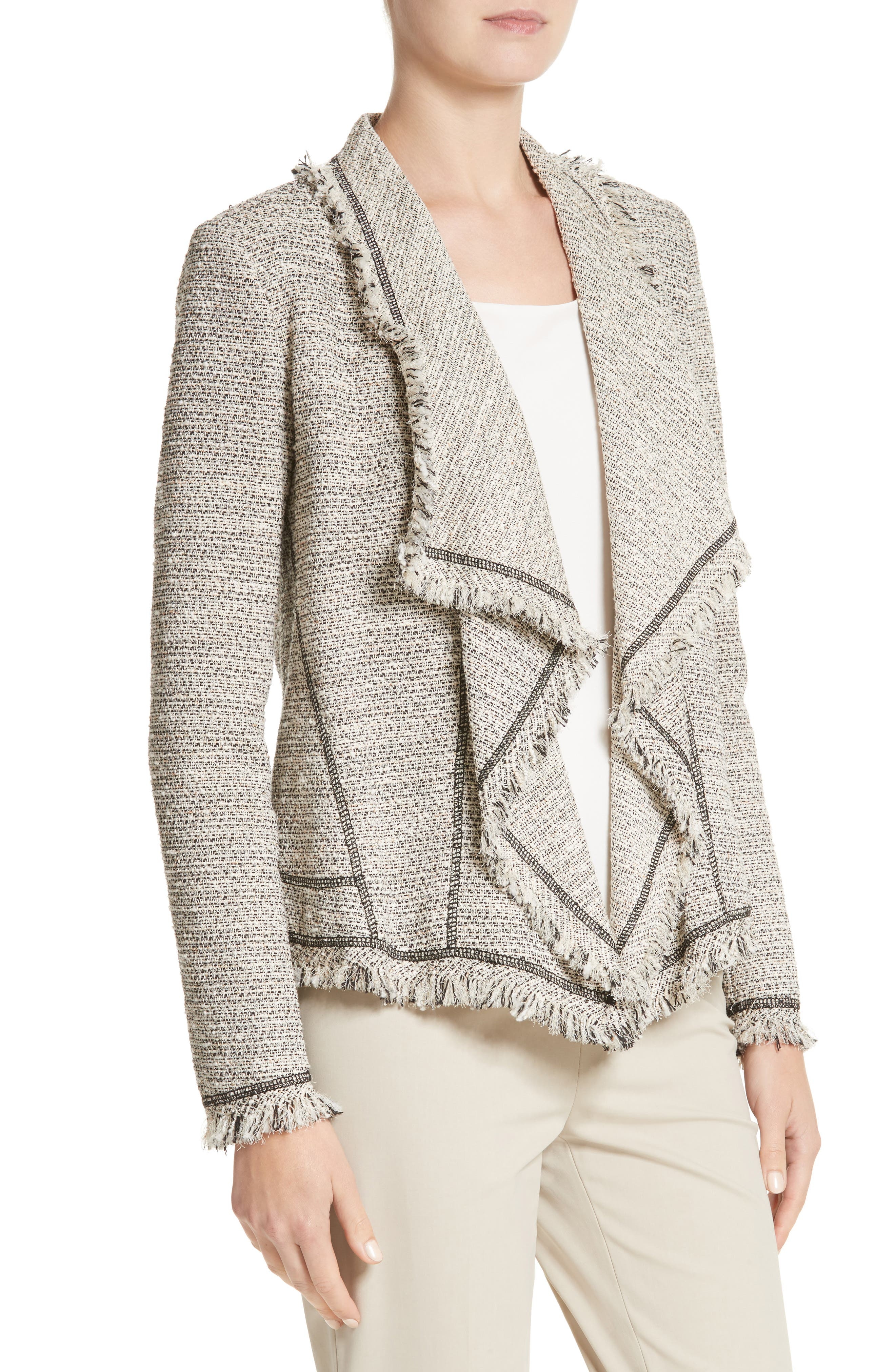 Eugena Drape Tweed Jacket,                             Alternate thumbnail 4, color,                             255